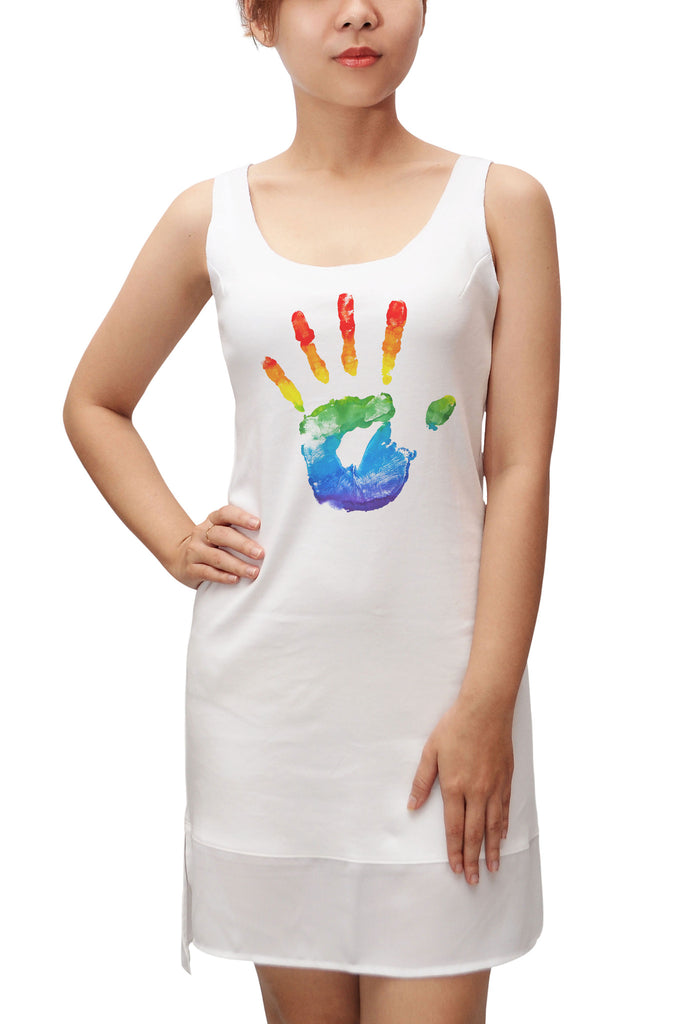 Rainbow painted hand Print 100% Cotton Fit Sporty Tank Tunic Hi-low Dress WDS_13