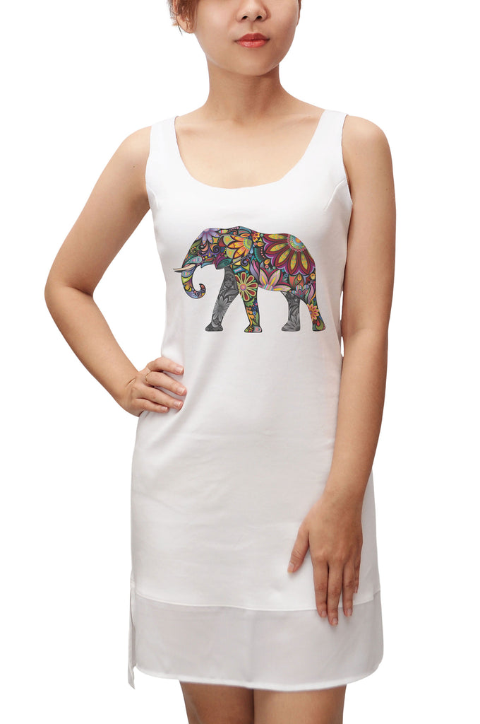Women  Elephant -3 Printed 100% Cotton Fit Sporty Tank Tunic Hi-low Dress WDS_13