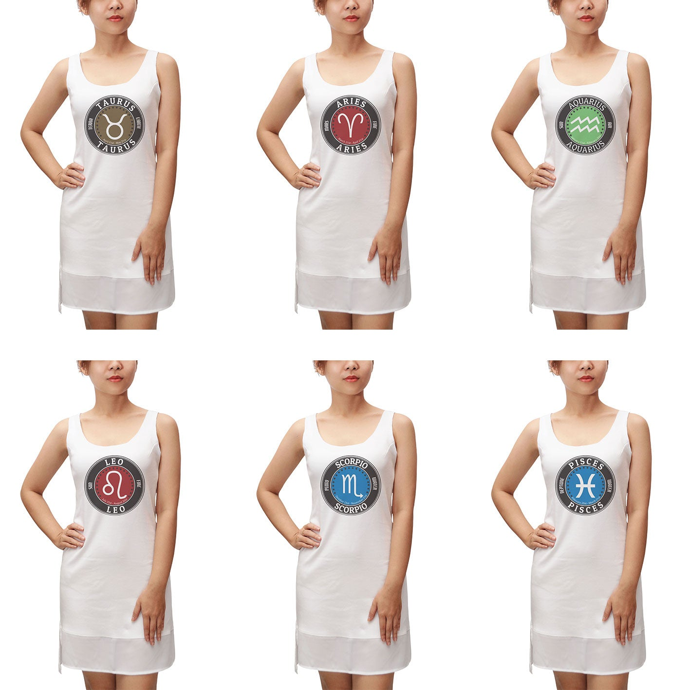 Women Zodiac 1 Printed 100% Cotton Fit Sporty Tank Tunic Hi-low Dress WDS_13
