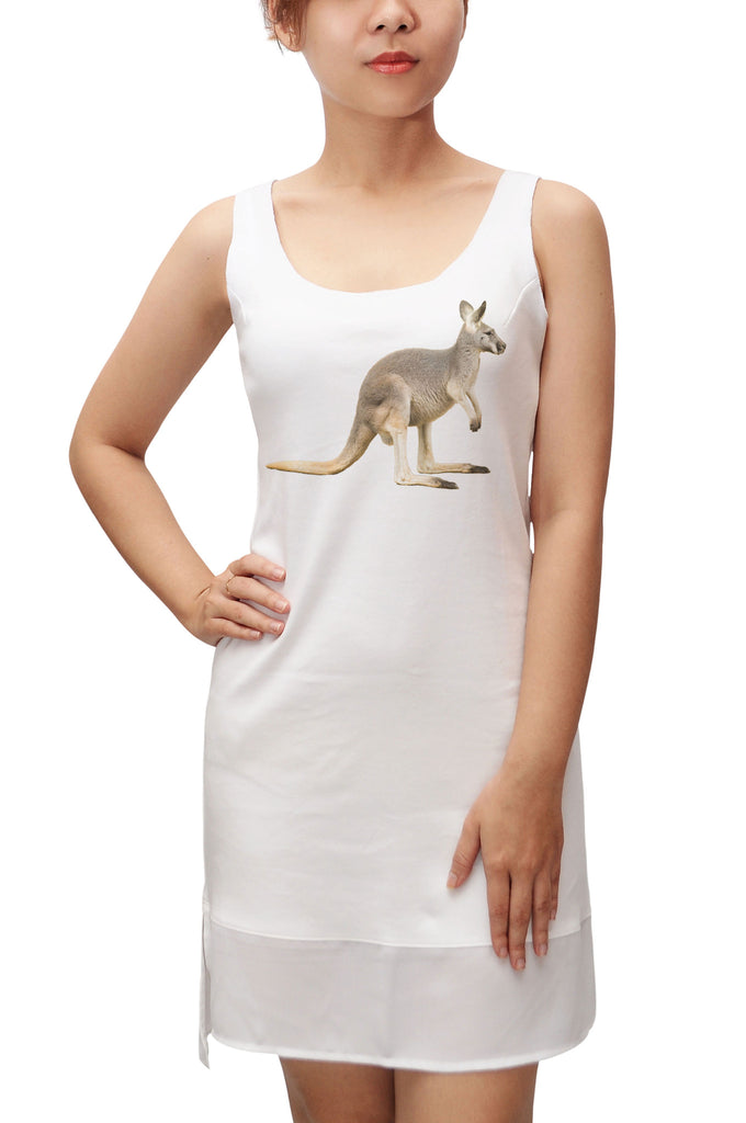 Women Kangaroo Printed 100% Cotton Fit Sporty Tank Tunic Hi-low Dress WDS_13