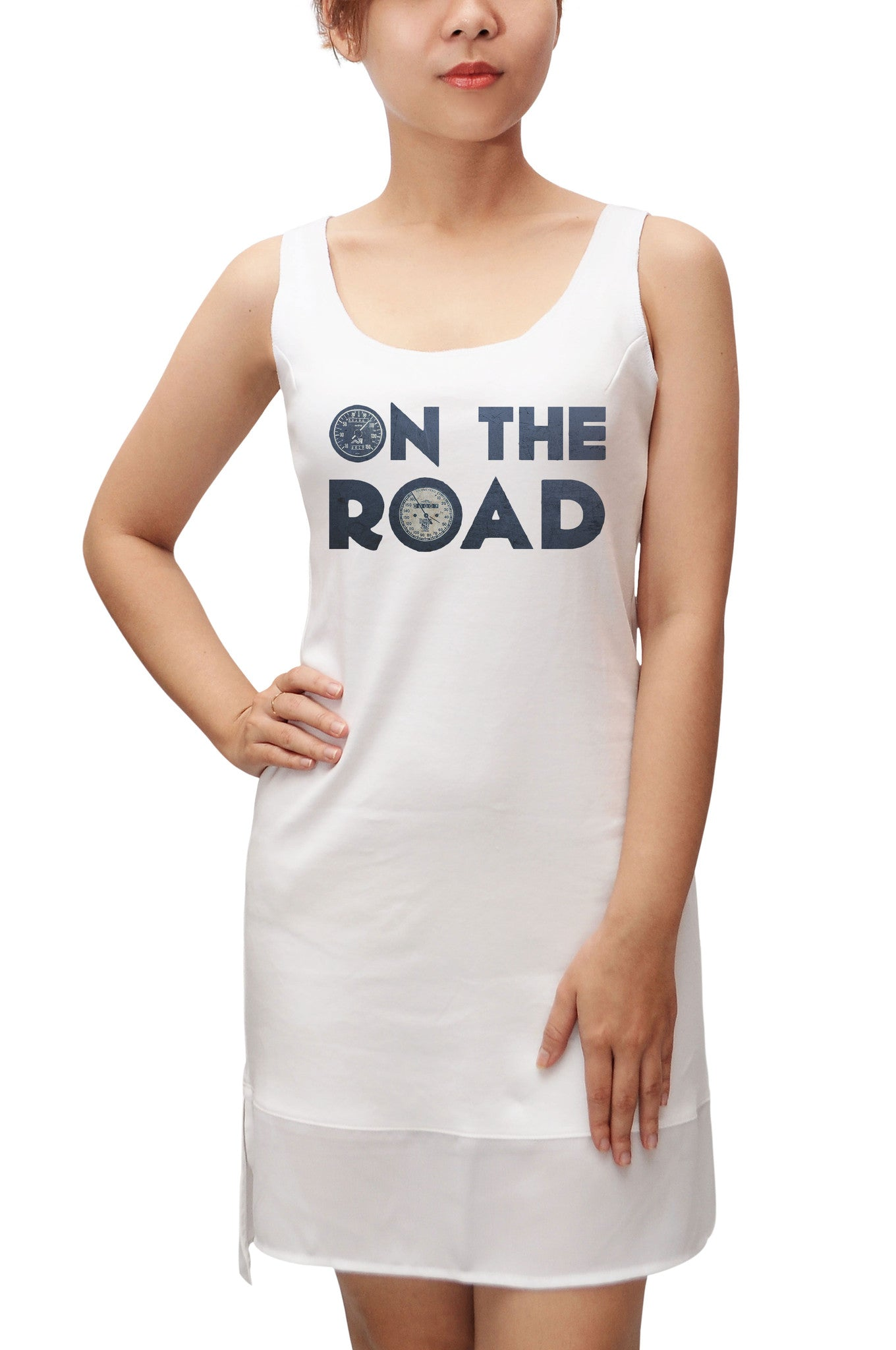 Women On The Road Printed 100% Cotton Fit Sporty Tank Tunic Hi-low Dress WDS_13