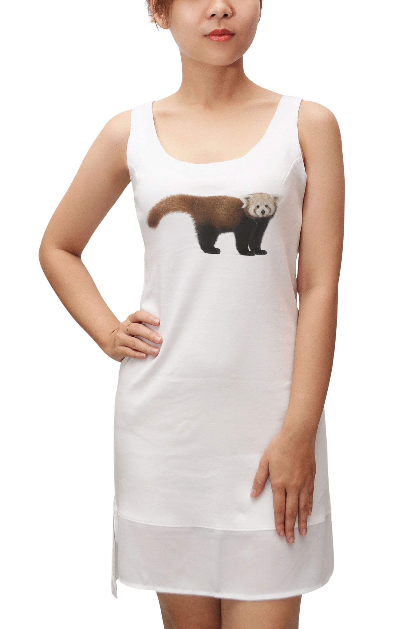 Women Young Red panda Printed Fit Sporty Tank Tunic Hi-low Dress WDS_13