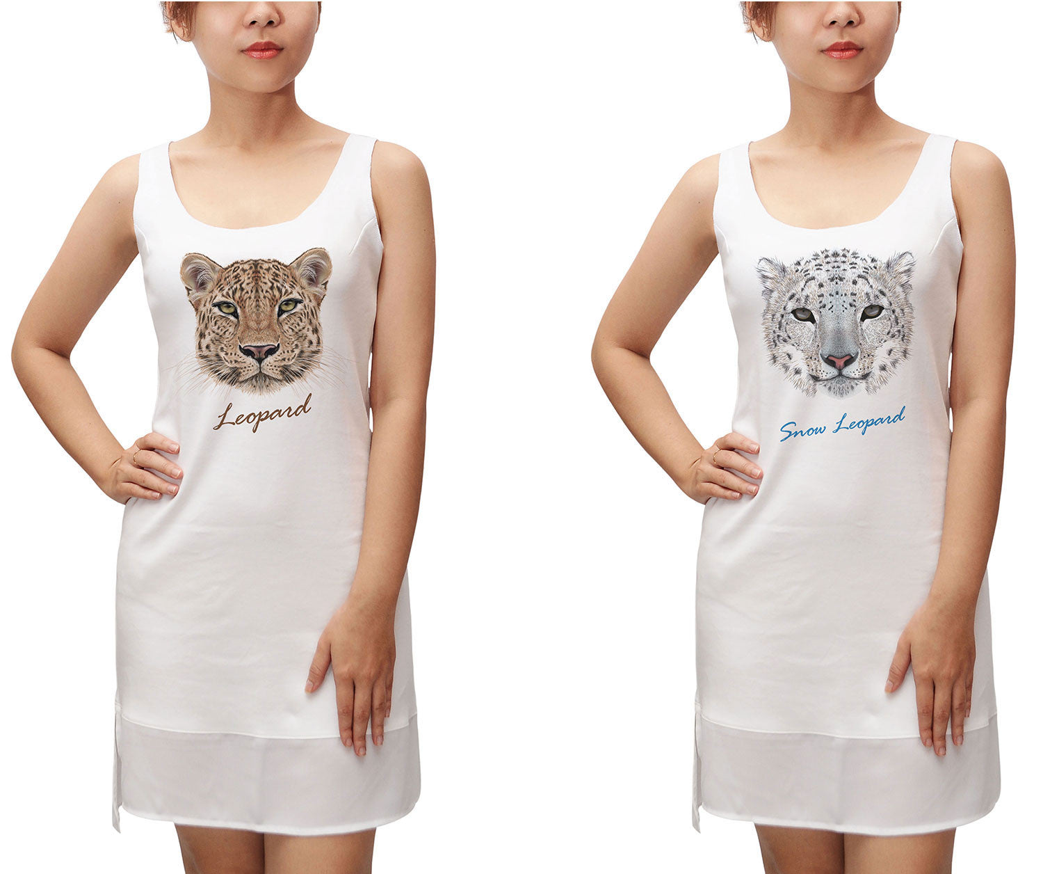 Portraits of Leopard Print 100% Cotton Fit Sporty Tank Tunic Hi-low Dress WDS_13