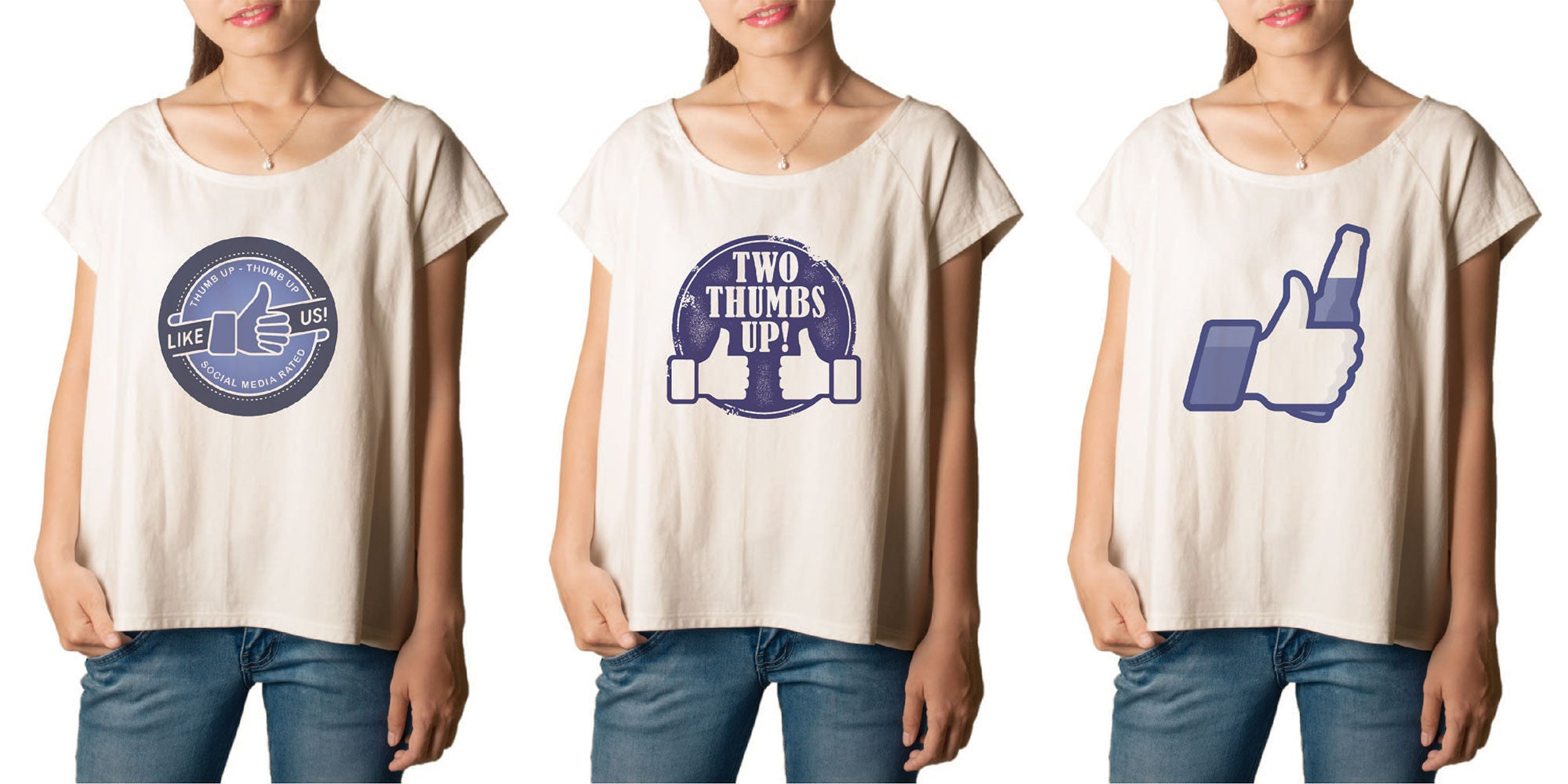 Women's Thumbs up Printed cotton T-shirt  Tee WTS_01
