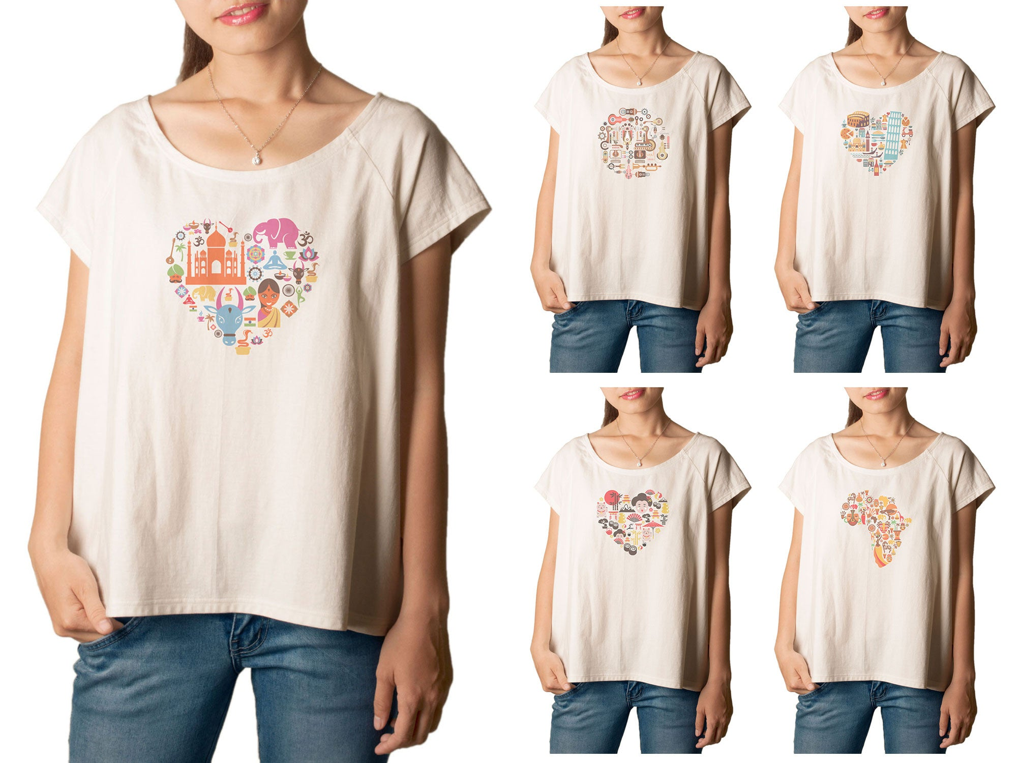 Women's Country heart Printed cotton T-shirt  Tee WTS_01