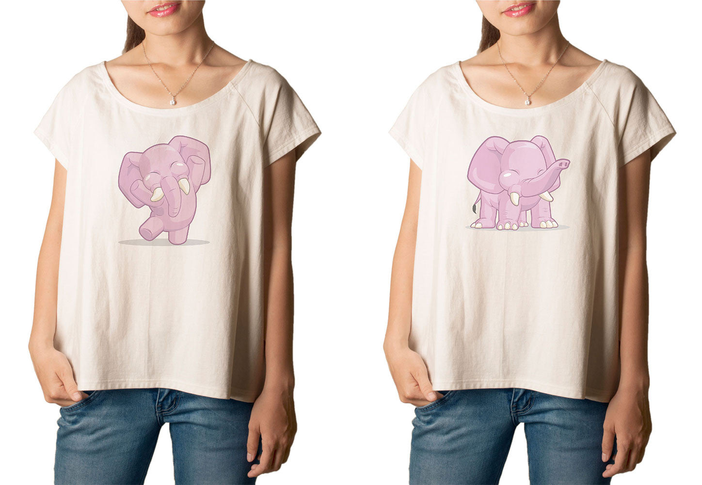 Women's Elephant Dancing Printed cotton T-shirt  Tee WTS_01