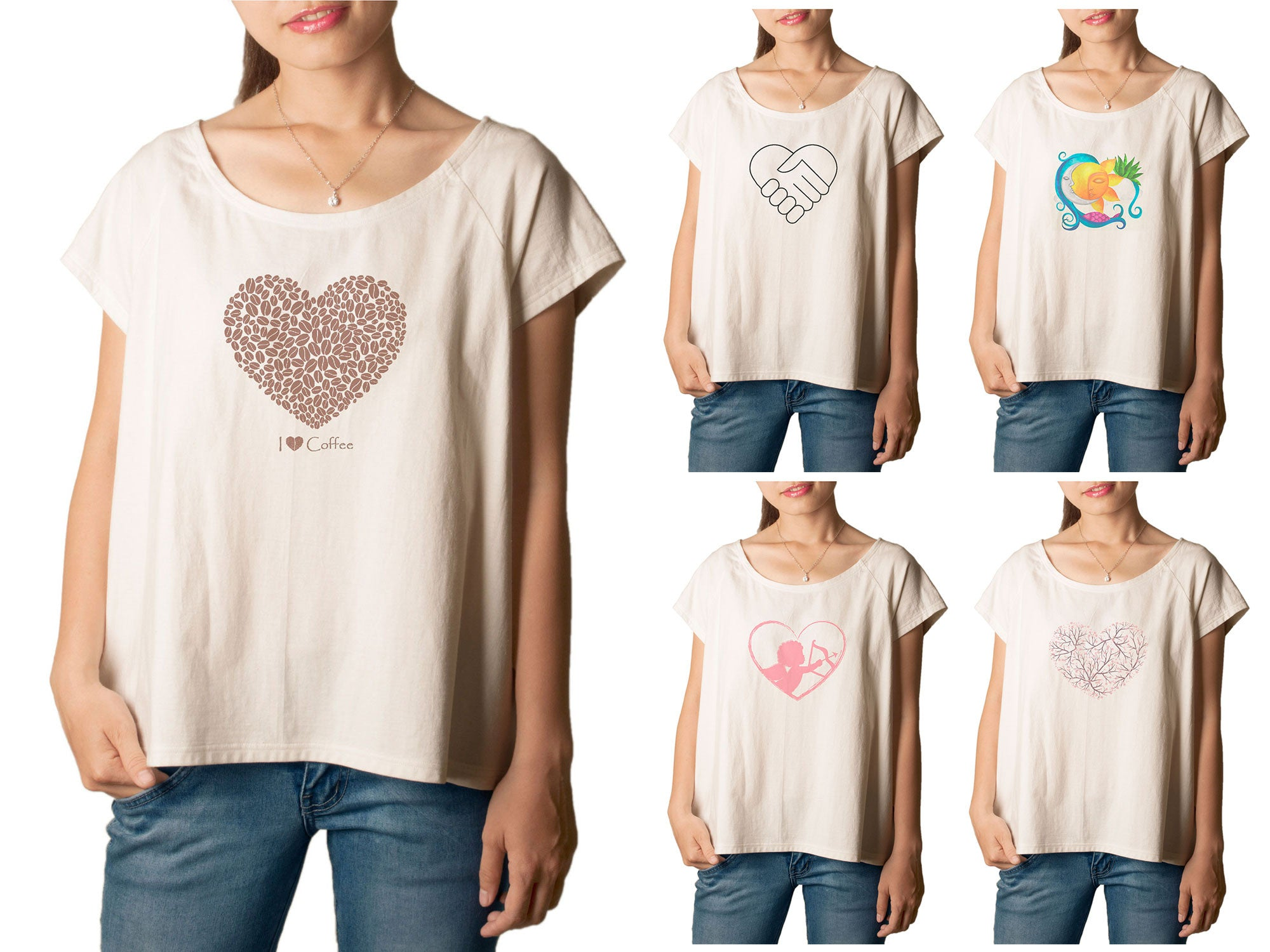 Women's Hearts 1 Printed cotton T-shirt  Tee WTS_01