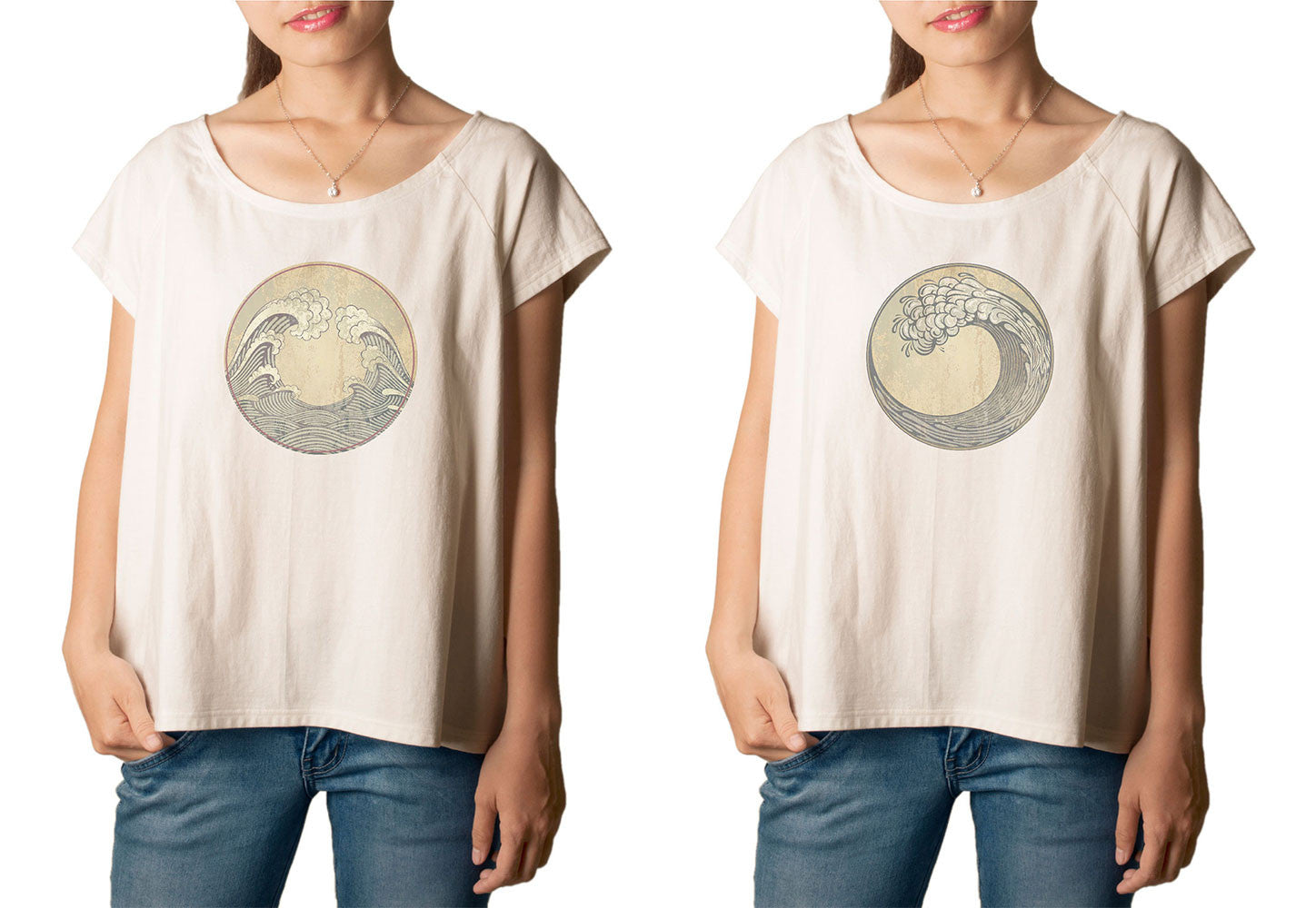 Women's  Ocean Waves Printed cotton T-shirt  Tee WTS_01