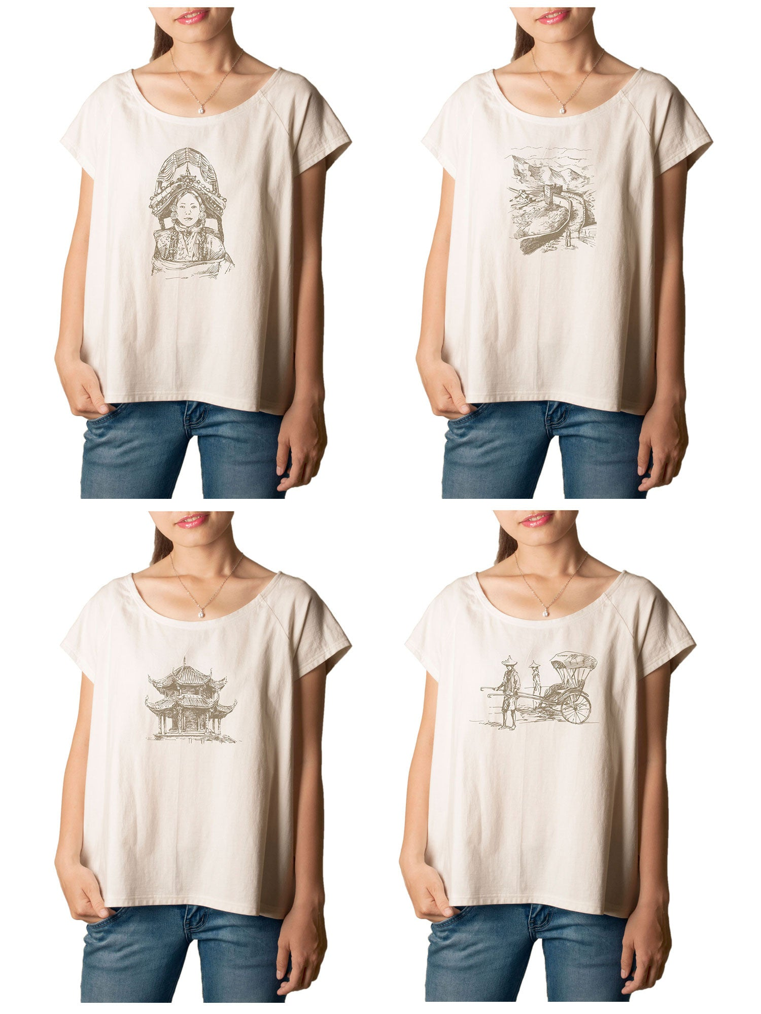 Women's Chinese famous place Printed cotton T-shirt  Tee WTS_01