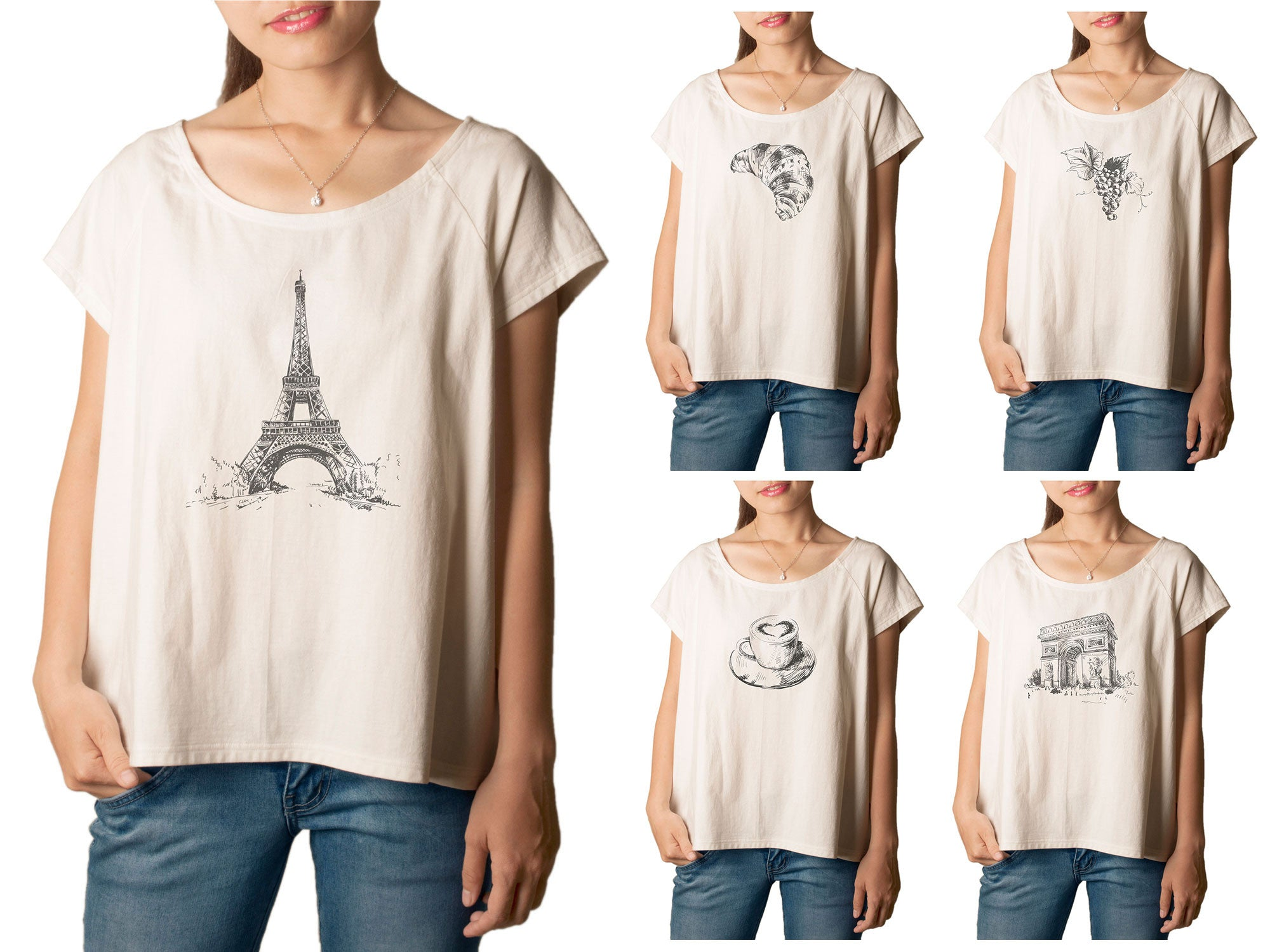 Women's France Hand Drawing Printed cotton T-shirt  Tee WTS_01