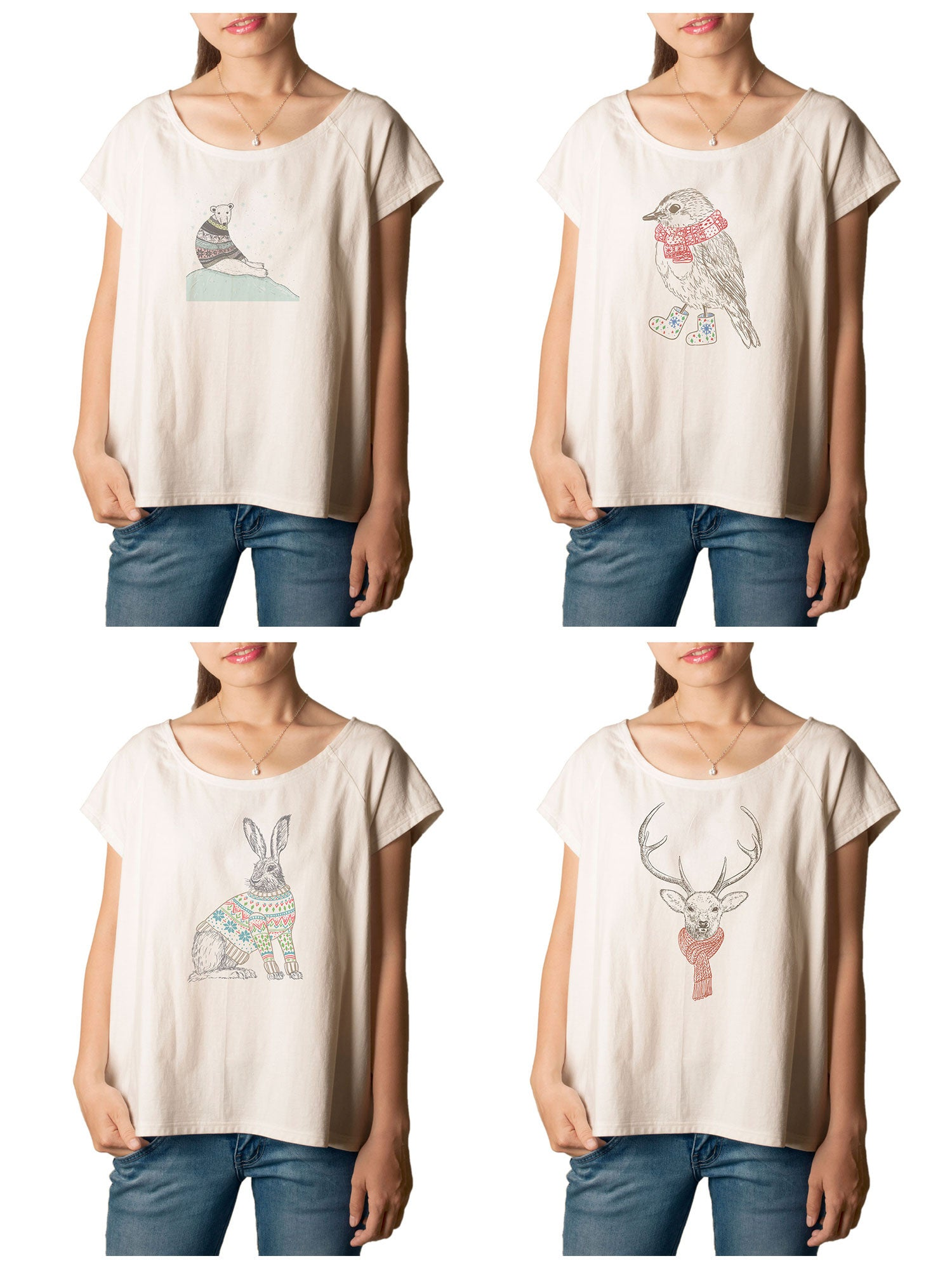 Women's Animals in sweater Printed cotton T-shirt  Tee WTS_01