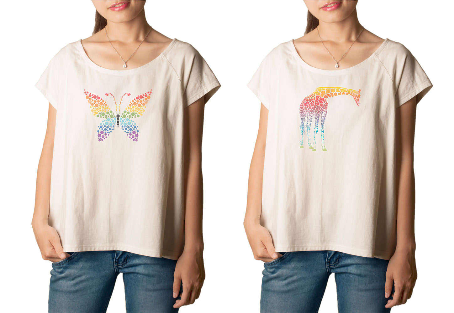 Women's Abstract Rainbow Animals Printed cotton T-shirt  Tee WTS_01