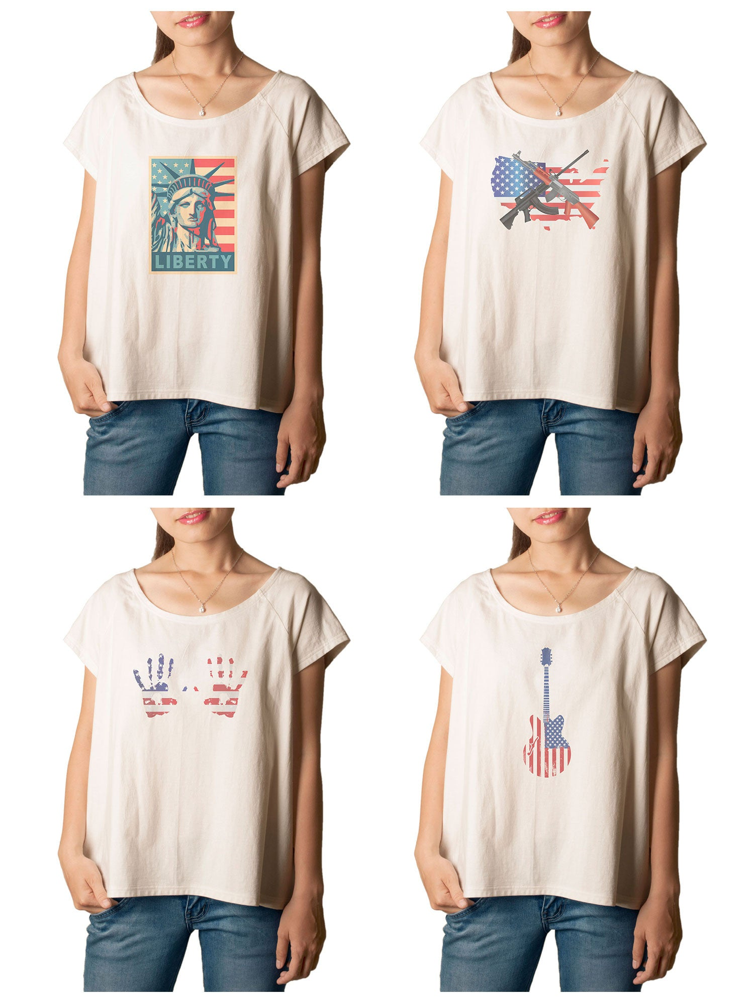Women's American Flag 1 Printed cotton T-shirt  Tee WTS_01