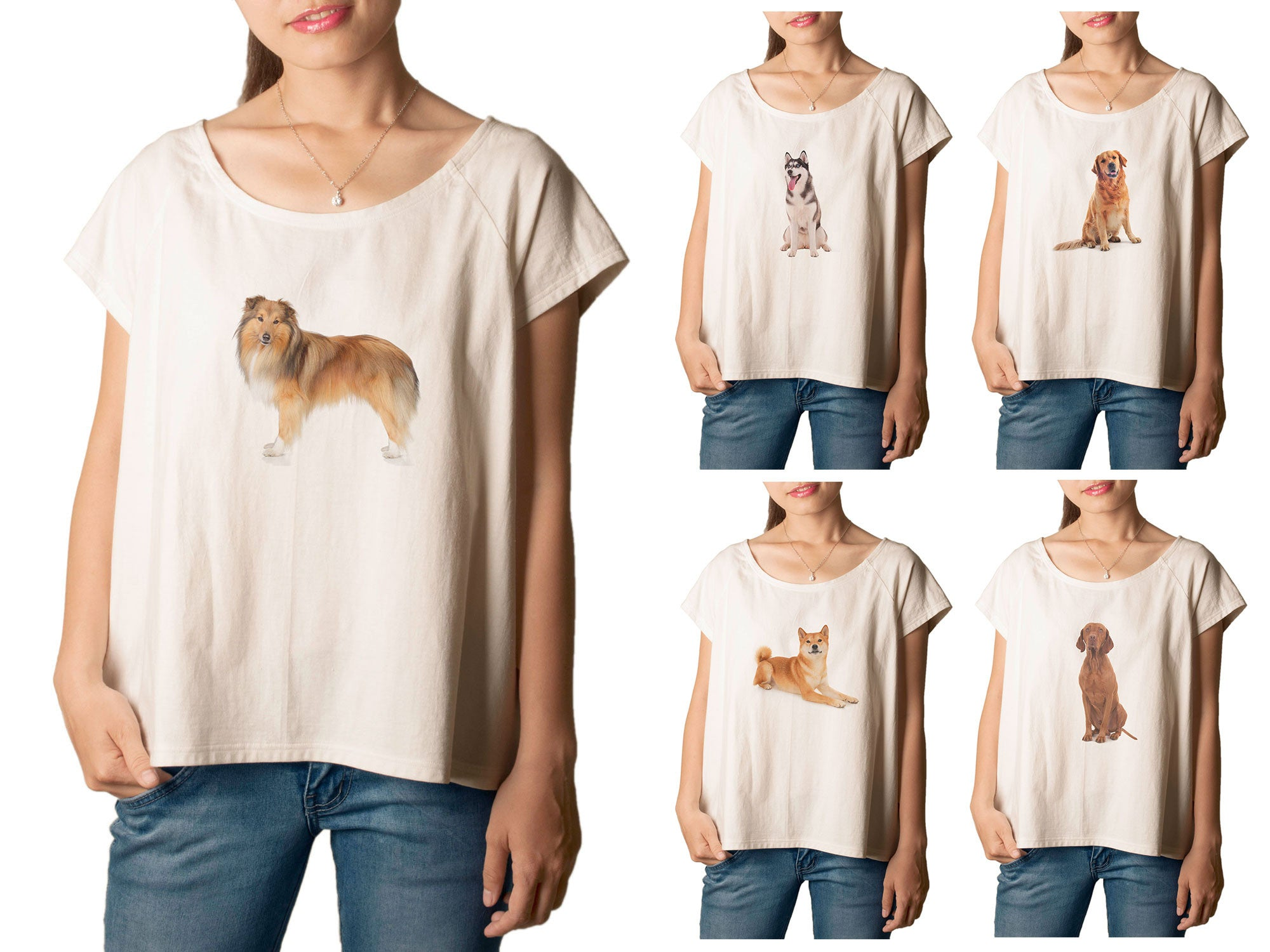 Women's Dogs-5 Printed cotton T-shirt  Tee WTS_01