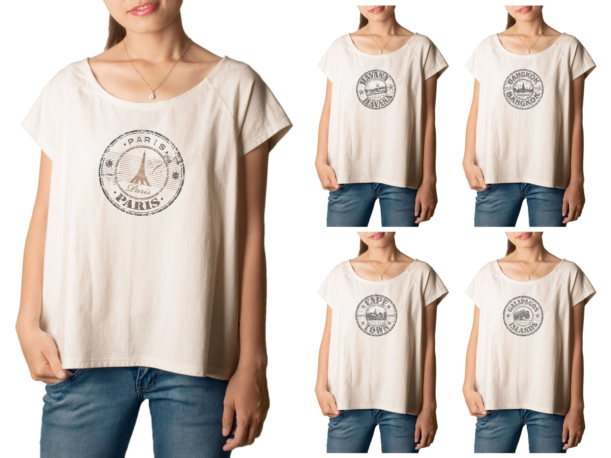 Women's Stamps of countries-2 Printed cotton T-shirt  Tee WTS_01