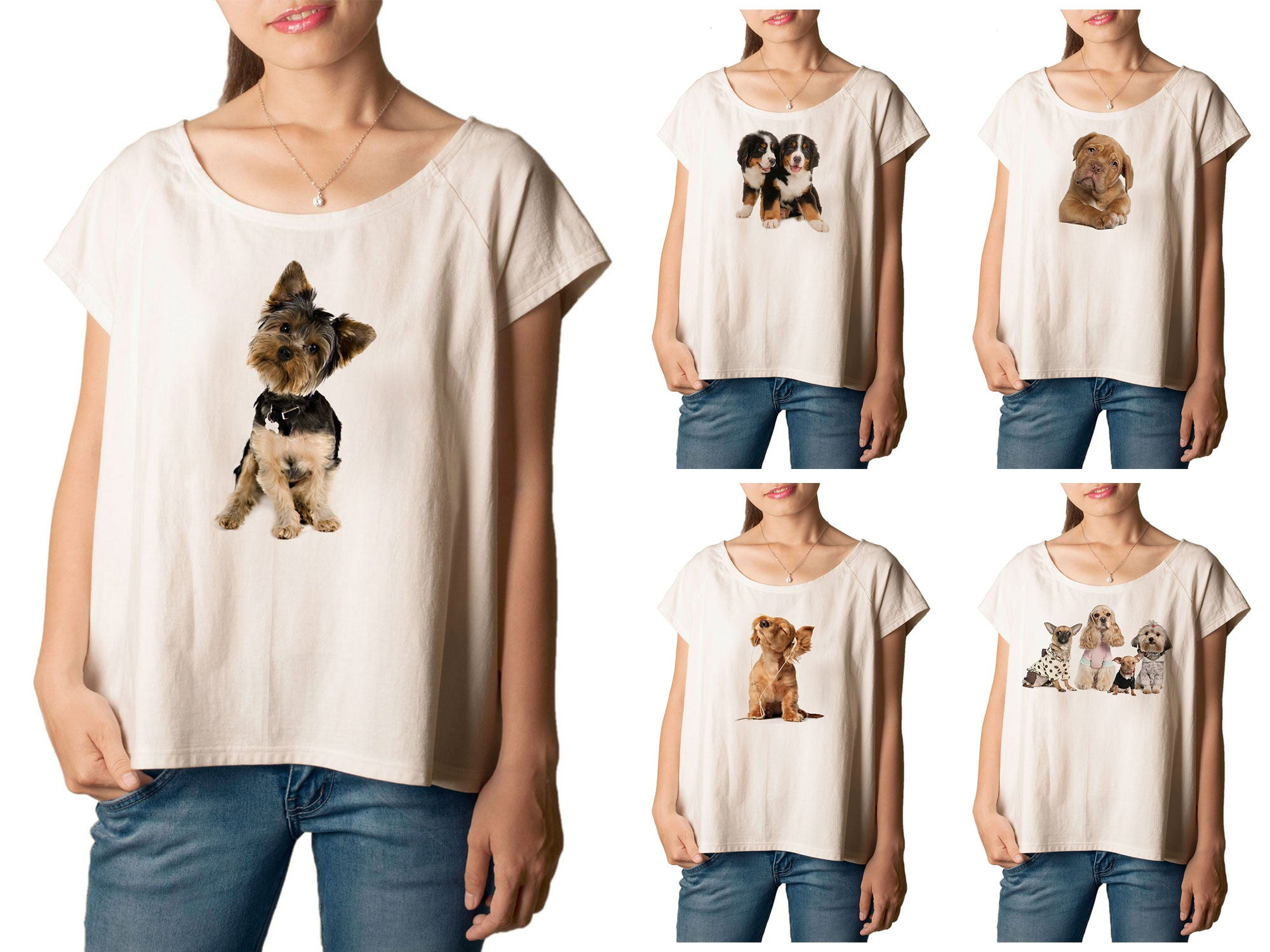 Women's Dogs-6 Printed cotton T-shirt  Tee WTS_01