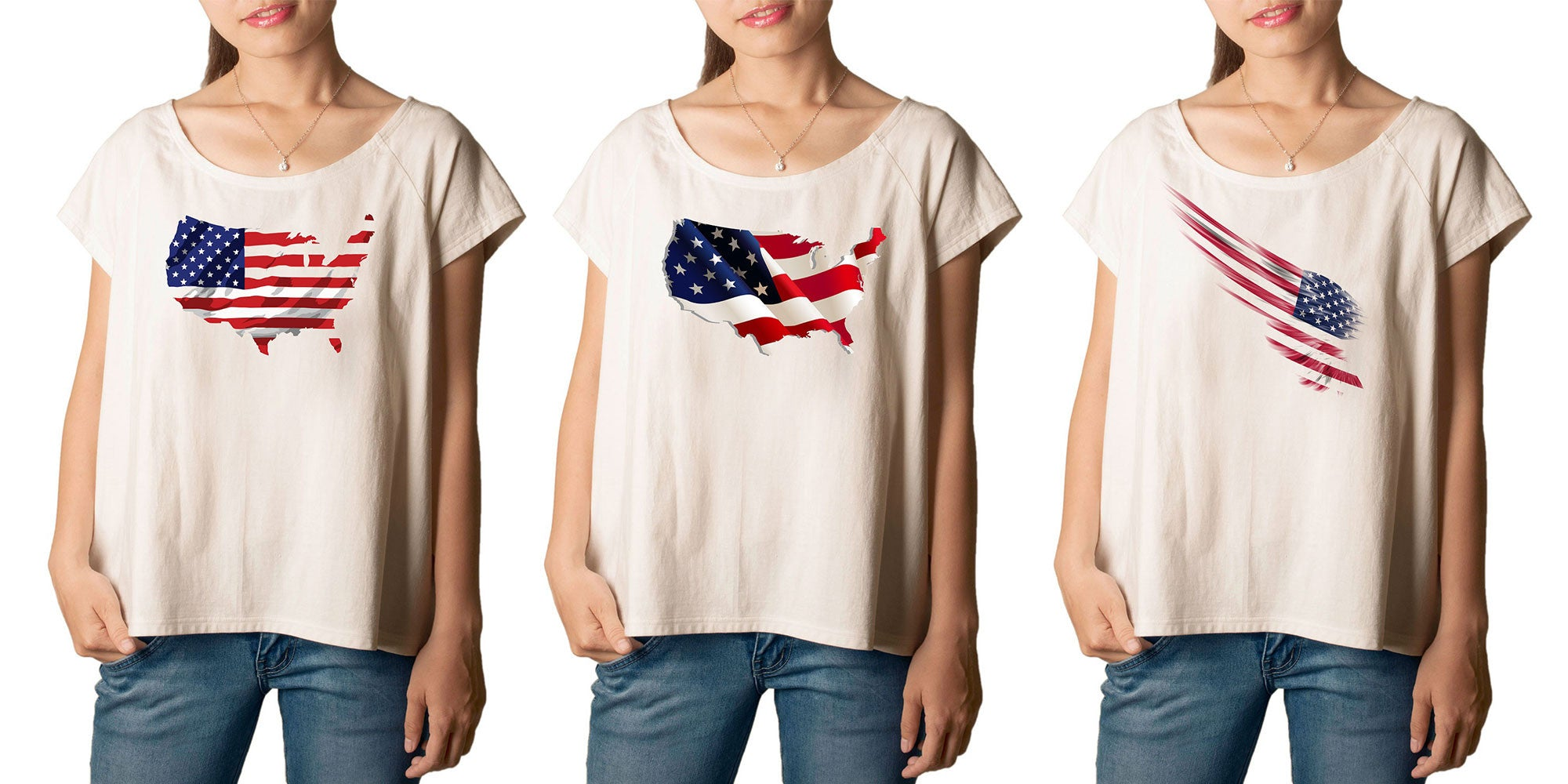 Women's American Flag-2 Printed cotton T-shirt  Tee WTS_01