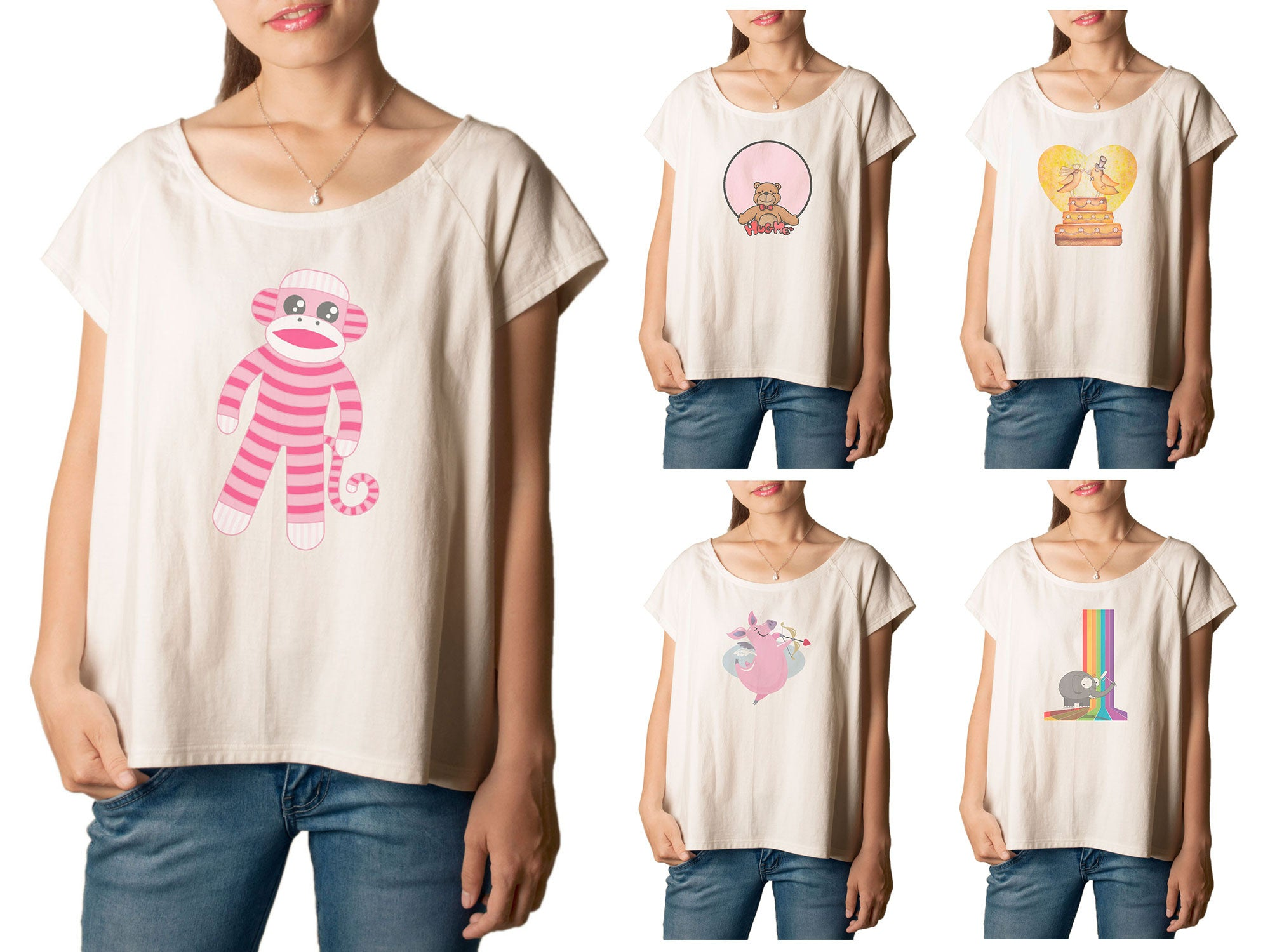 Women's Cute Animals Printed cotton T-shirt  Tee WTS_01