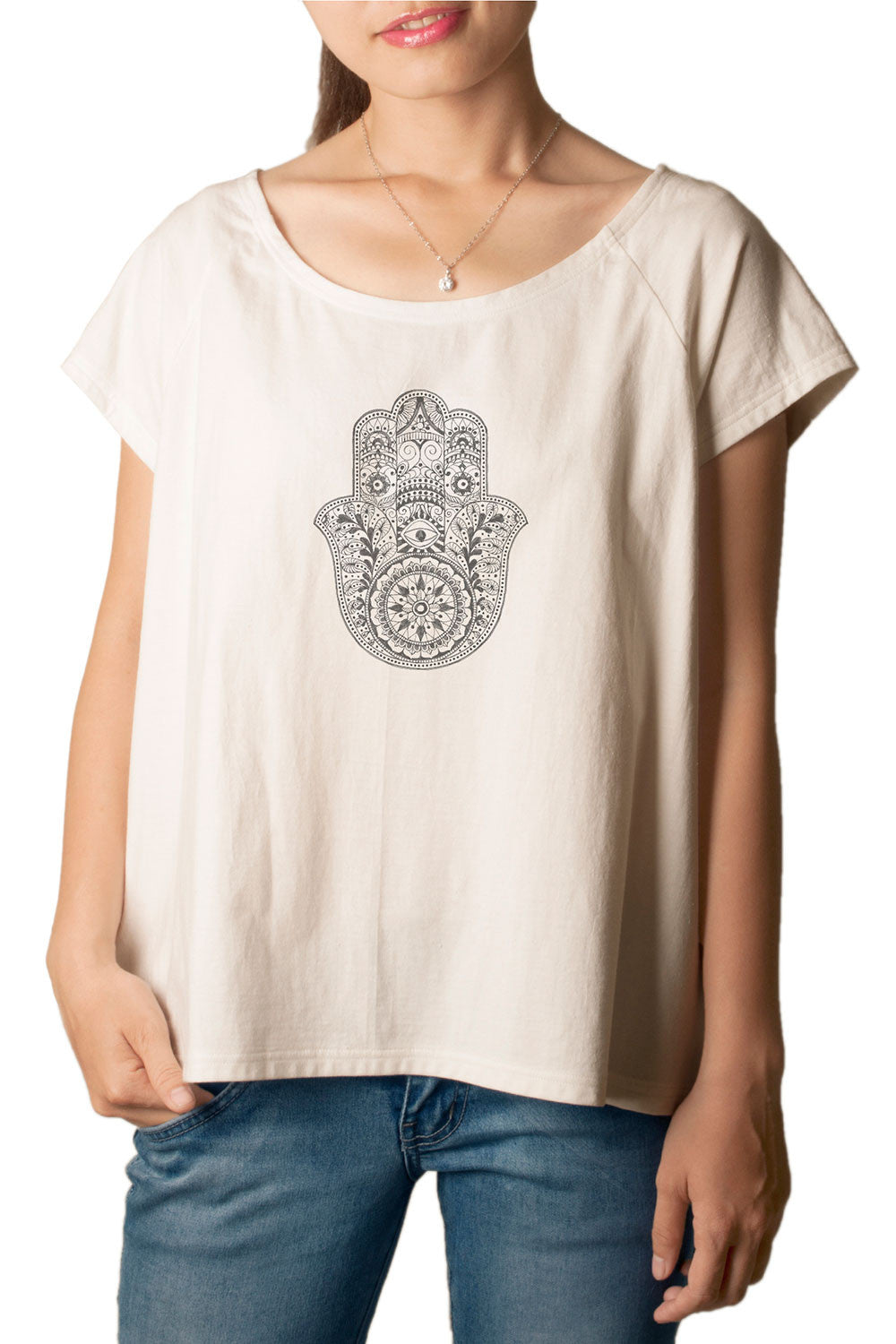 Women's Hamsa Hand Printed cotton T-shirt  Tee WTS_01
