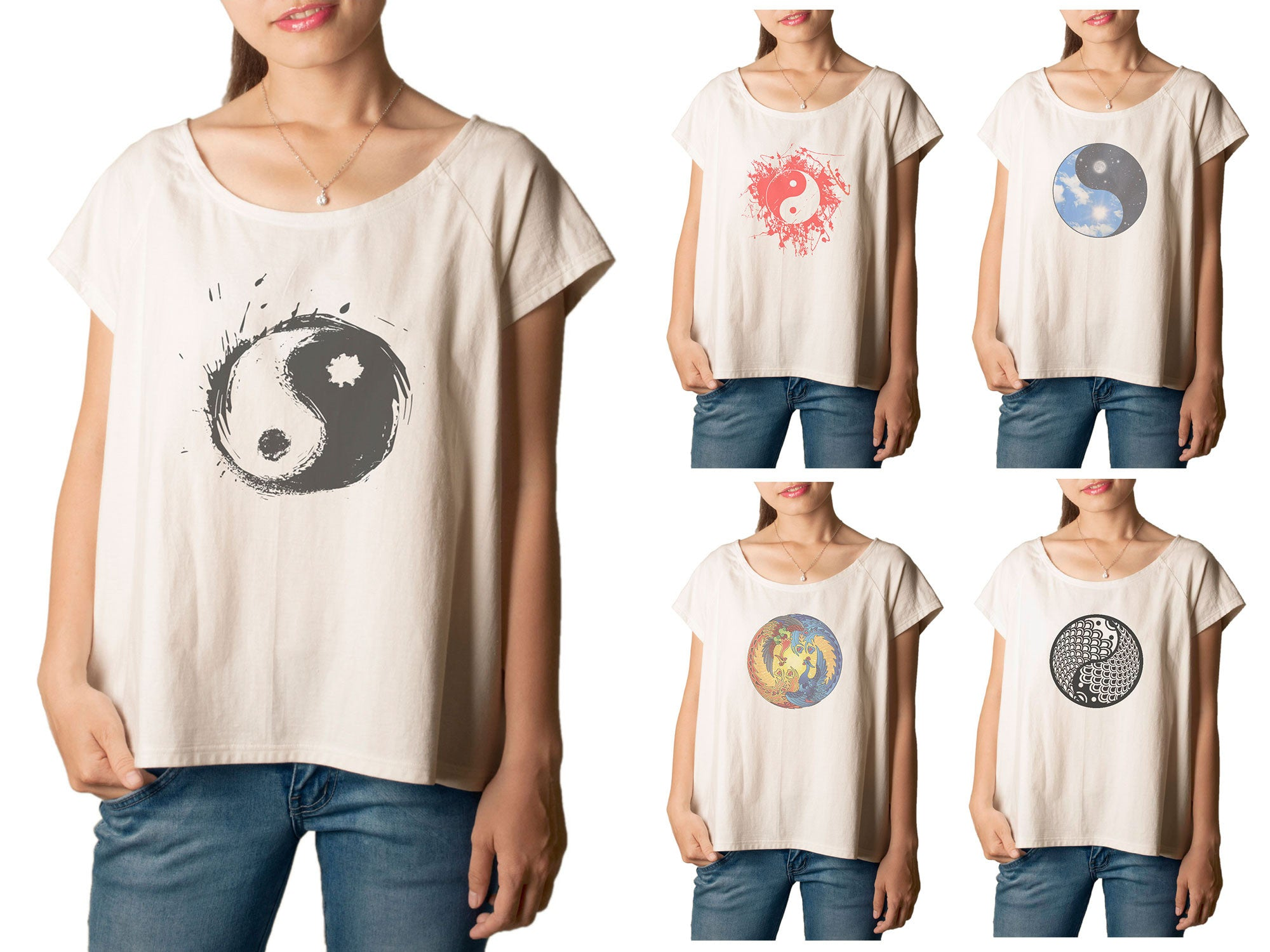 Women's Yin Yang 1 Printed cotton T-shirt  Tee WTS_01