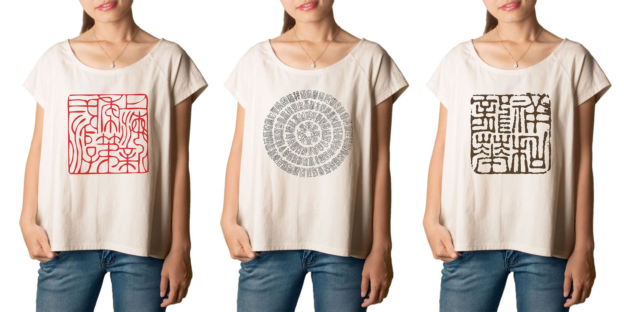 Women  Chineses Ancient Stamp Printed T-shirt WTS_01