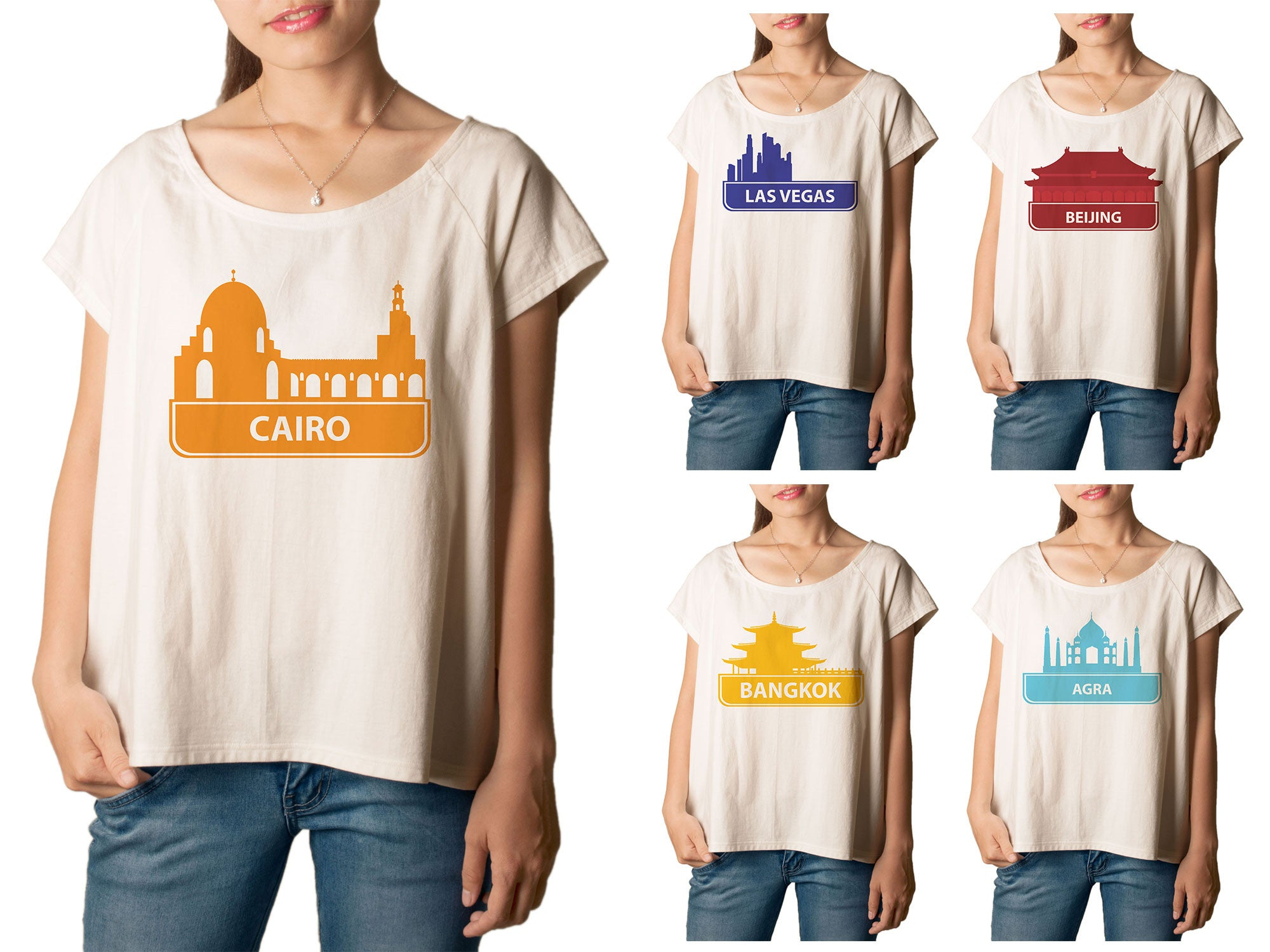 Women's Set of Cities 1 Printed cotton T-shirt  Tee WTS_01