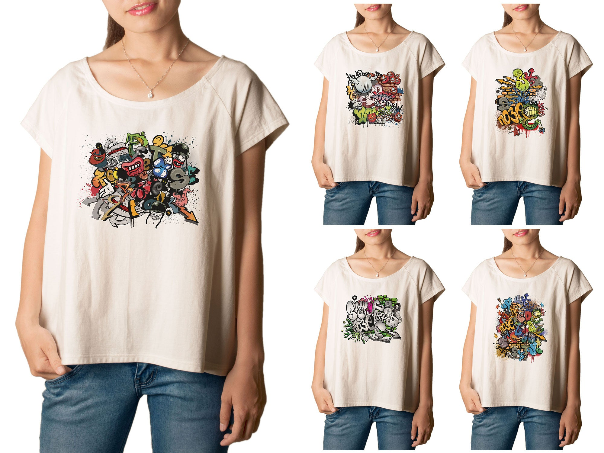 Women's Graffiti Printed cotton T-shirt  Tee WTS_01