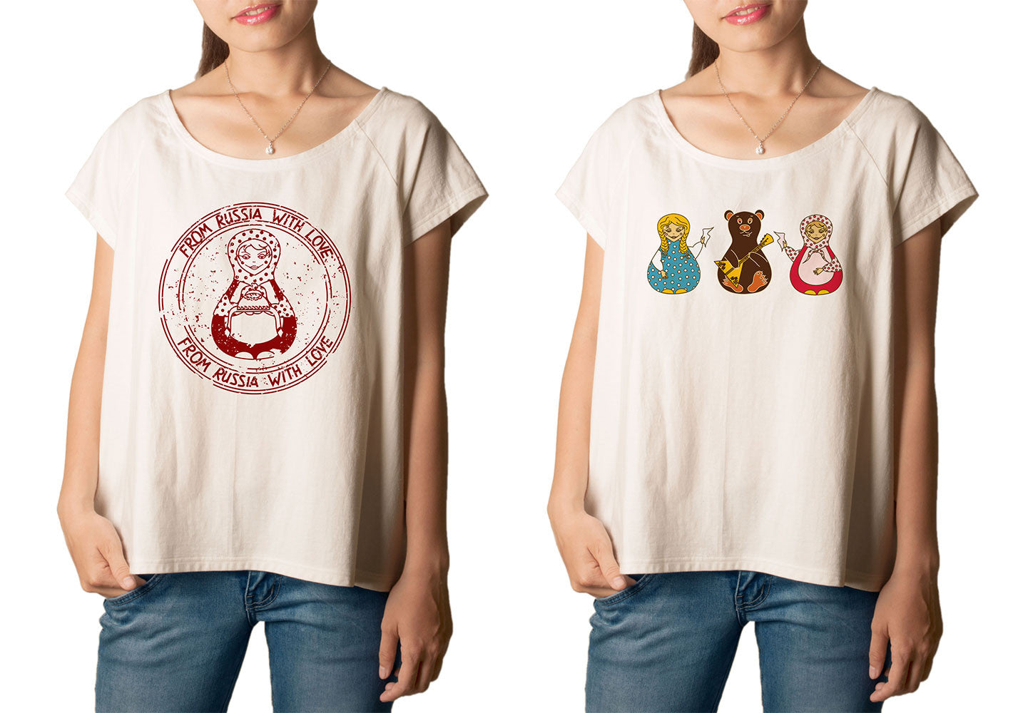 Women's Russian Dolls Printed cotton T-shirt  Tee WTS_01