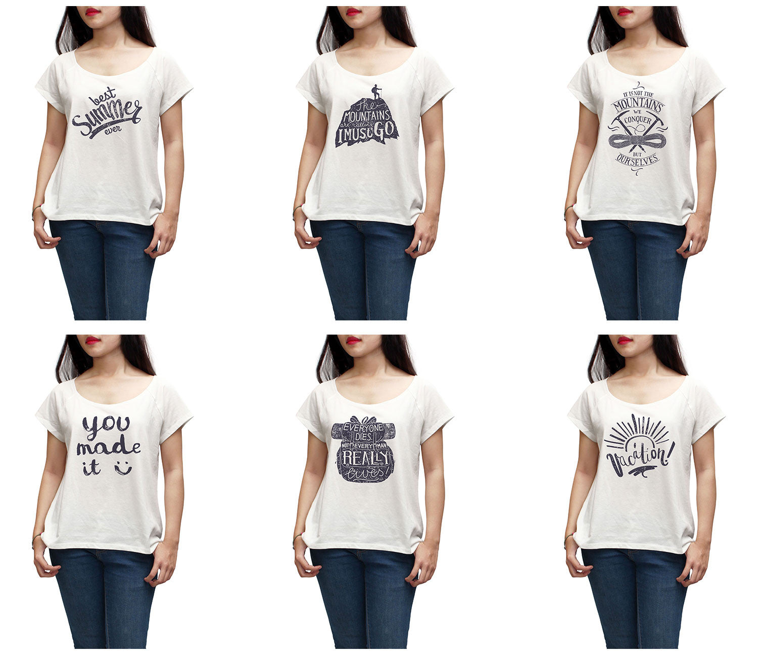 Women Vintage Vacation quote Printed Short Sleeves T-shirt WTS_01