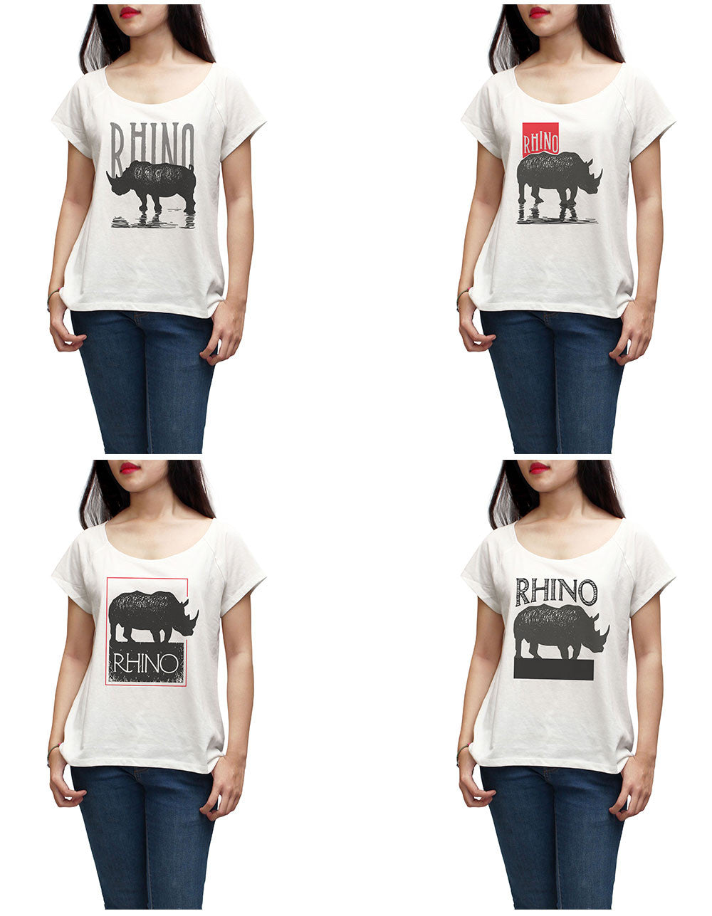 Women Rhinoceros Printed Short Sleeves T-shirt WTS_01