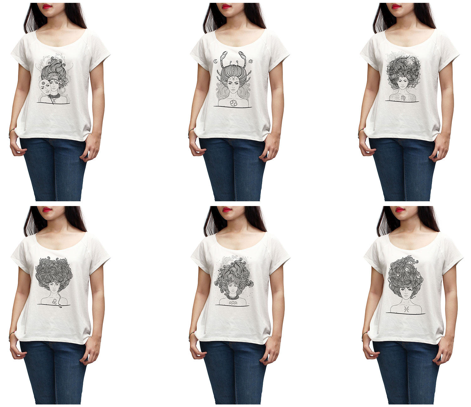 Women Zodiac Hand Drawn Printed Short Sleeves T-shirt WTS_01