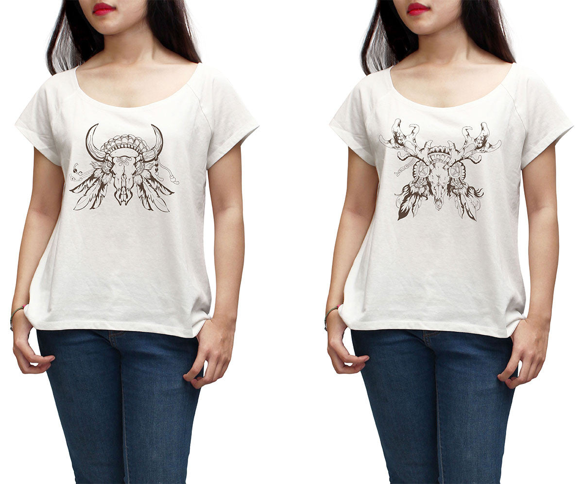 Women Tribal Decorative Totem Printed Short Sleeves T-shirt WTS_01
