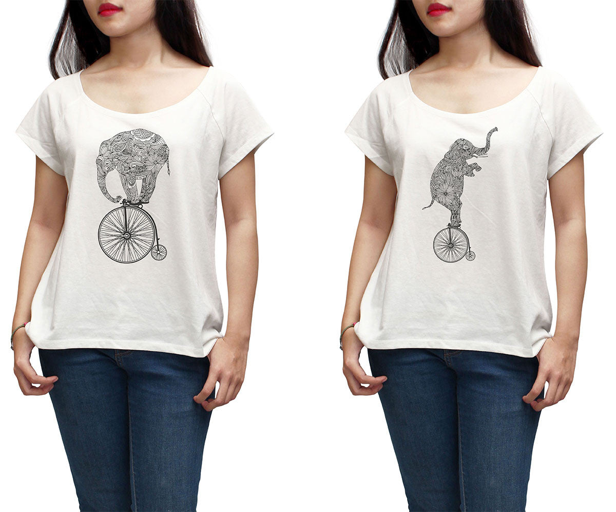 Women Elephant on vintage bicycle Printed T-shirt WTS_01