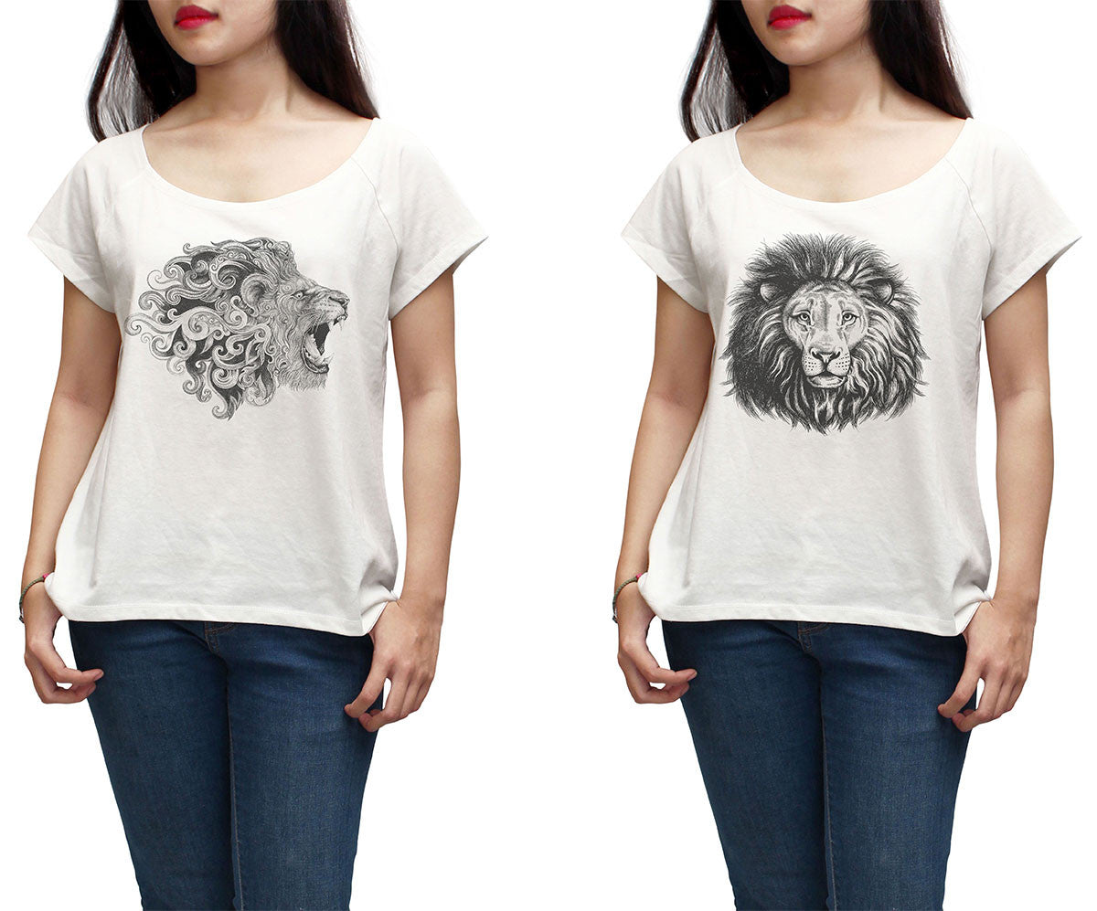 Women Hand Draw Lion Printed Short Sleeves T-shirt WTS_01