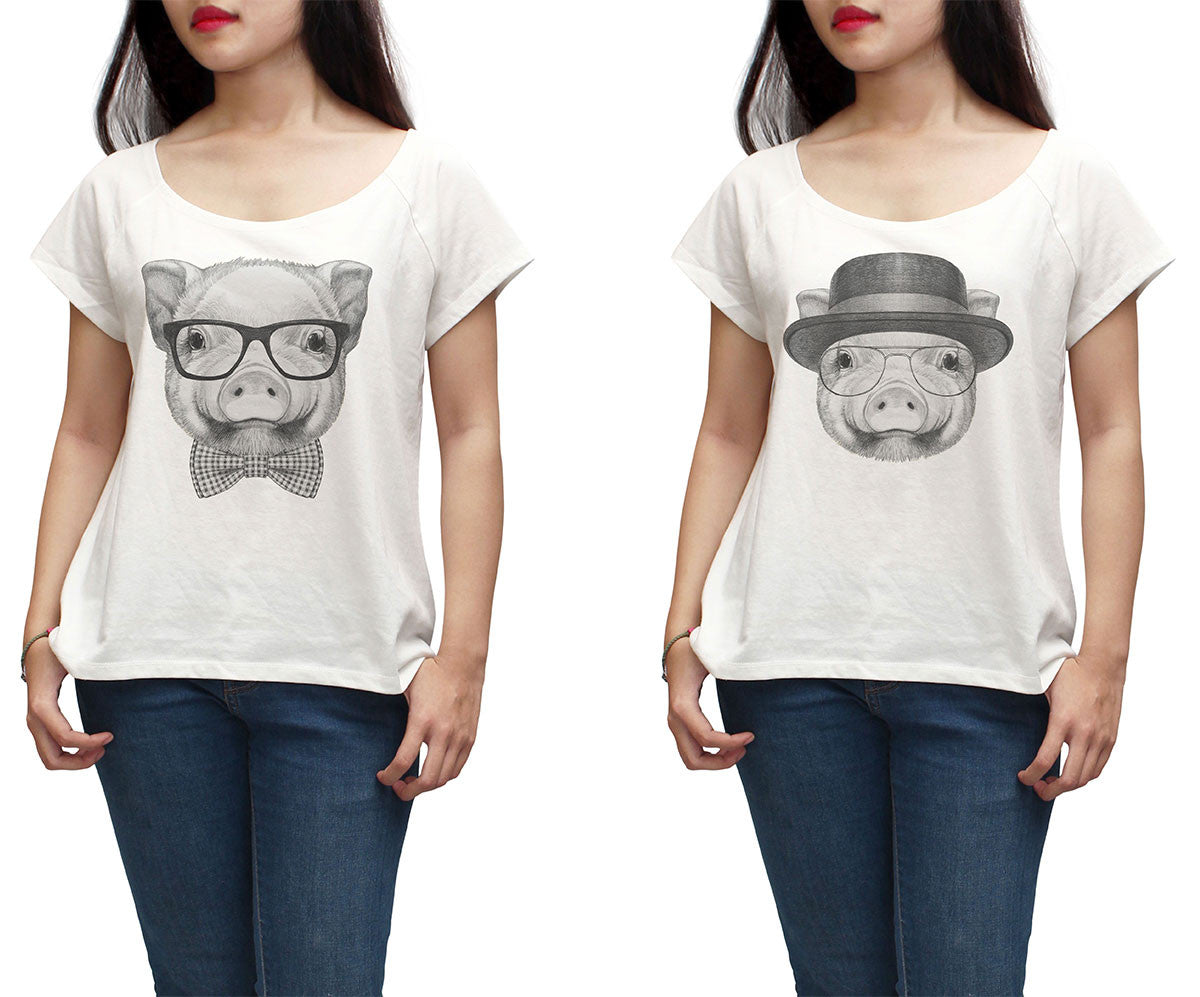 Women Portrait of Piggy Printed Short Sleeves T-shirt WTS_01