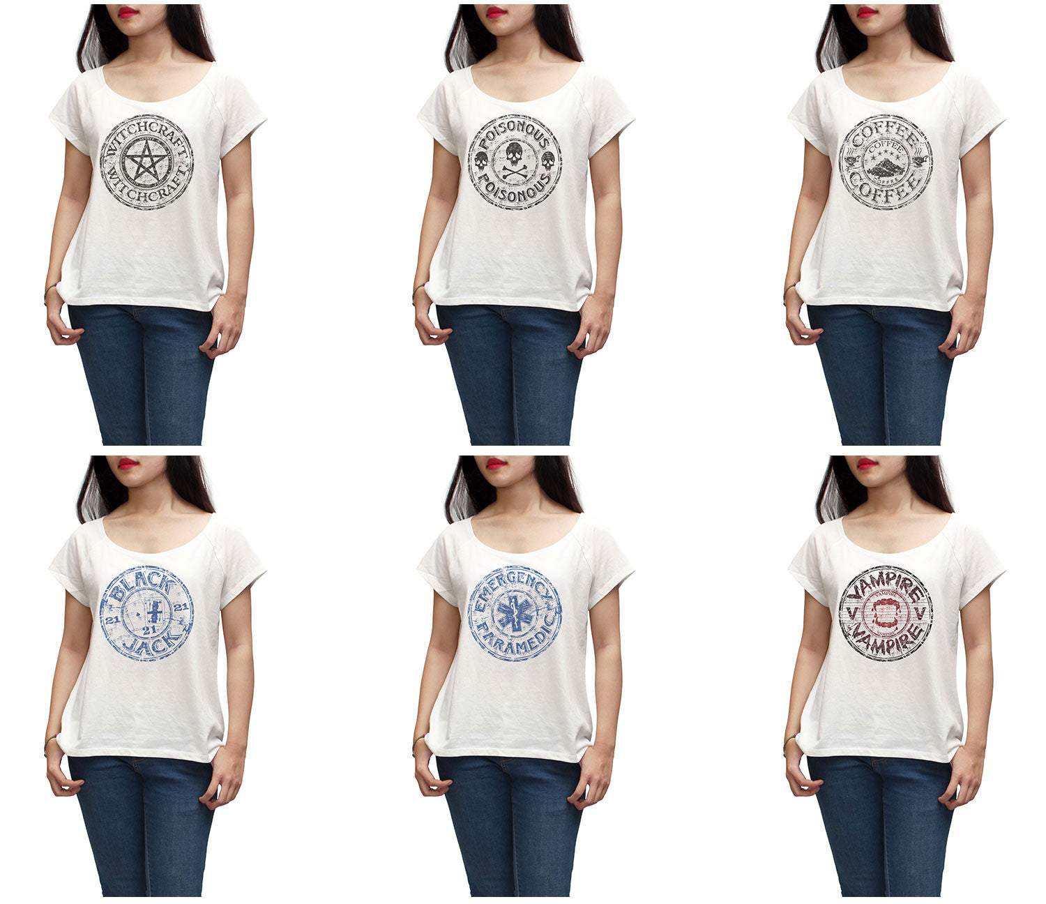 Women Coffee stamp Printed Short Sleeves T-shirt WTS_01