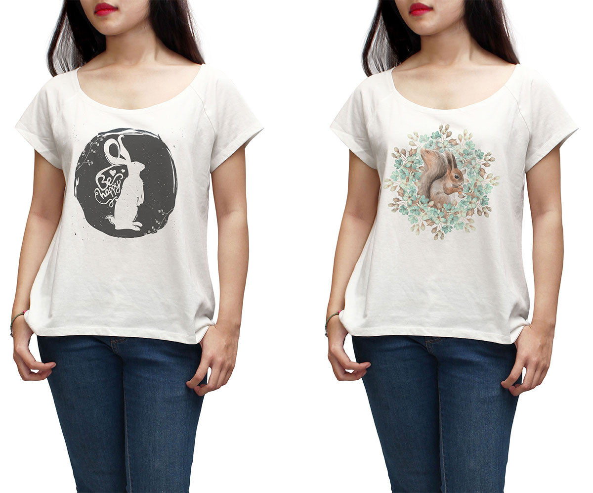 Women Squirrel and Rabbit Printed Short Sleeves T-shirt WTS_01