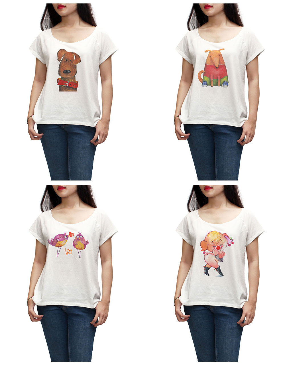 Women Cute animals painting Printed Short Sleeves T-shirt WTS_01