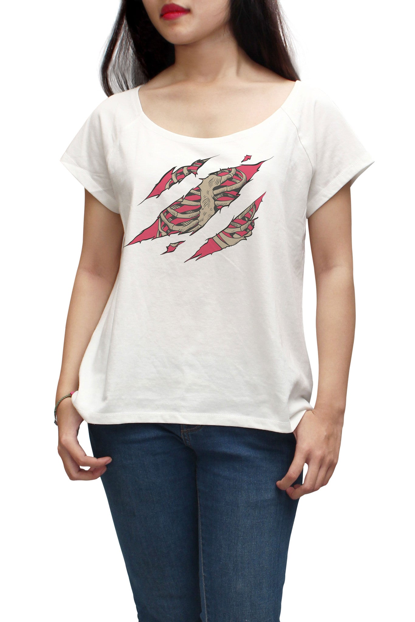 Women A Chest Bones Scratch Printed Short Sleeves T-shirt WTS_01