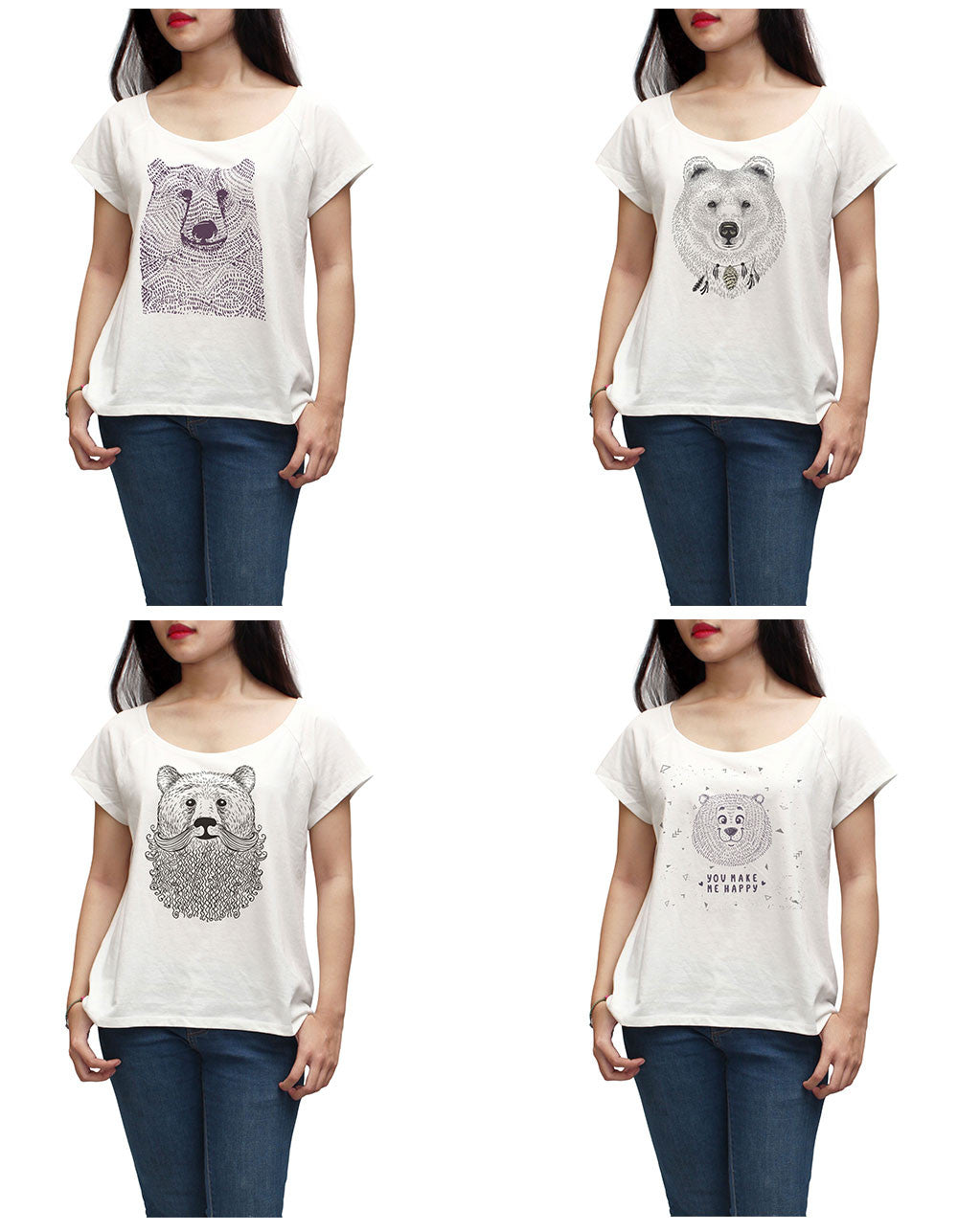 Women Bears in hand draw style Printed Short Sleeves T-shirt WTS_01