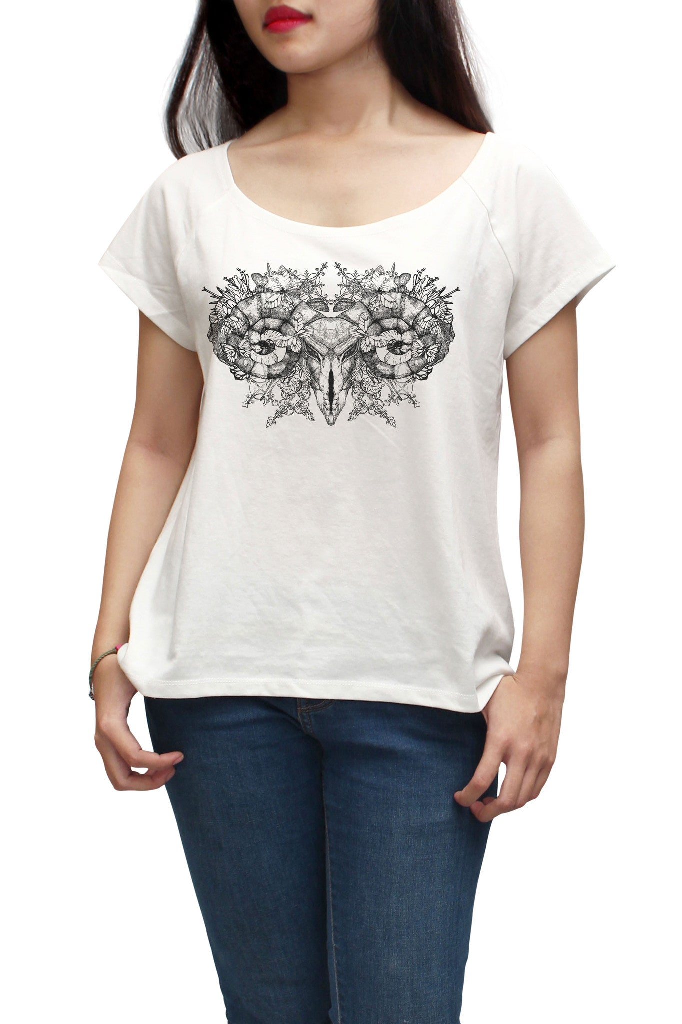 Women Aries skull with horns Printed Short Sleeves T-shirt WTS_01