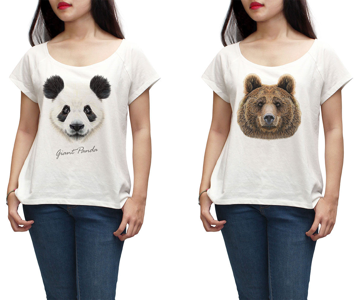 Women Portraits of Bear Printed Short Sleeves T-shirt WTS_01