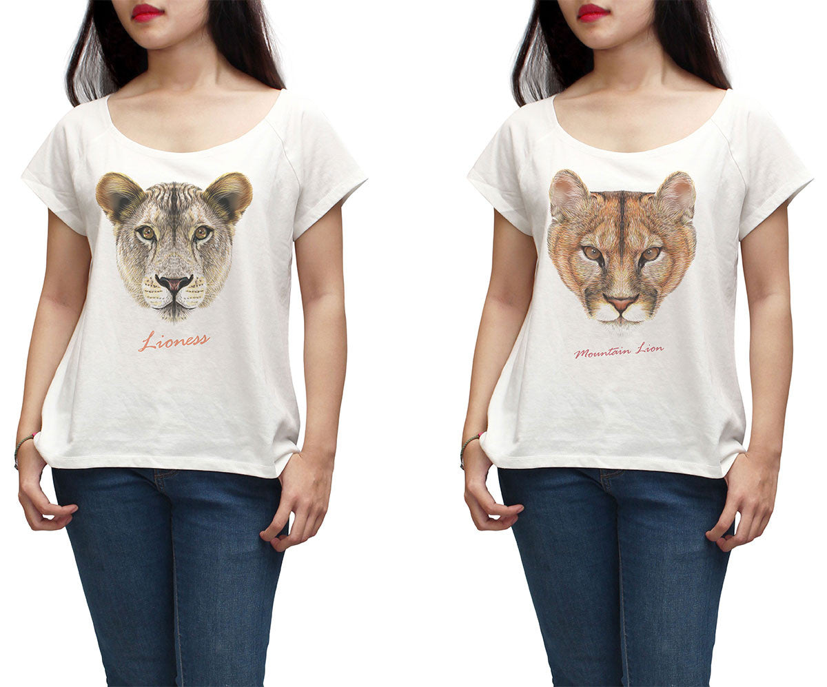 Women Portraits of a Lion Printed Short Sleeves T-shirt WTS_01