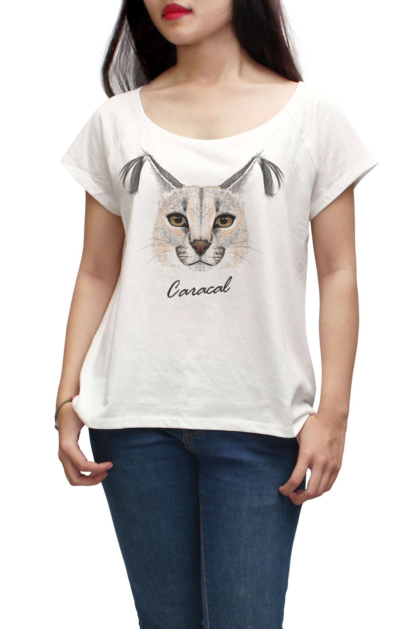 Women Portrait of wild cat Printed Short Sleeves T-shirt WTS_01