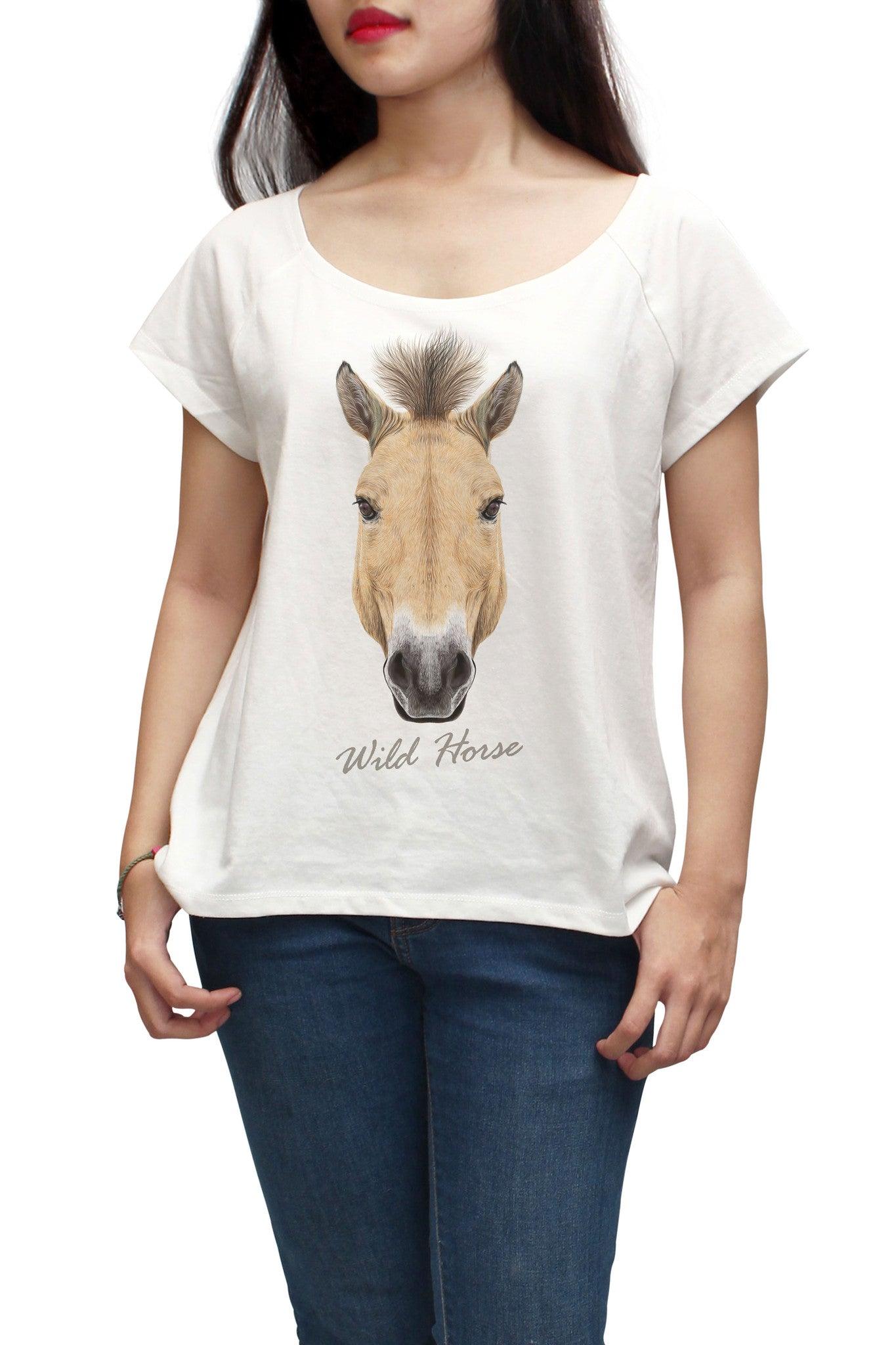 Women Portrait of Wild Horse Printed Short Sleeves T-shirt WTS_01