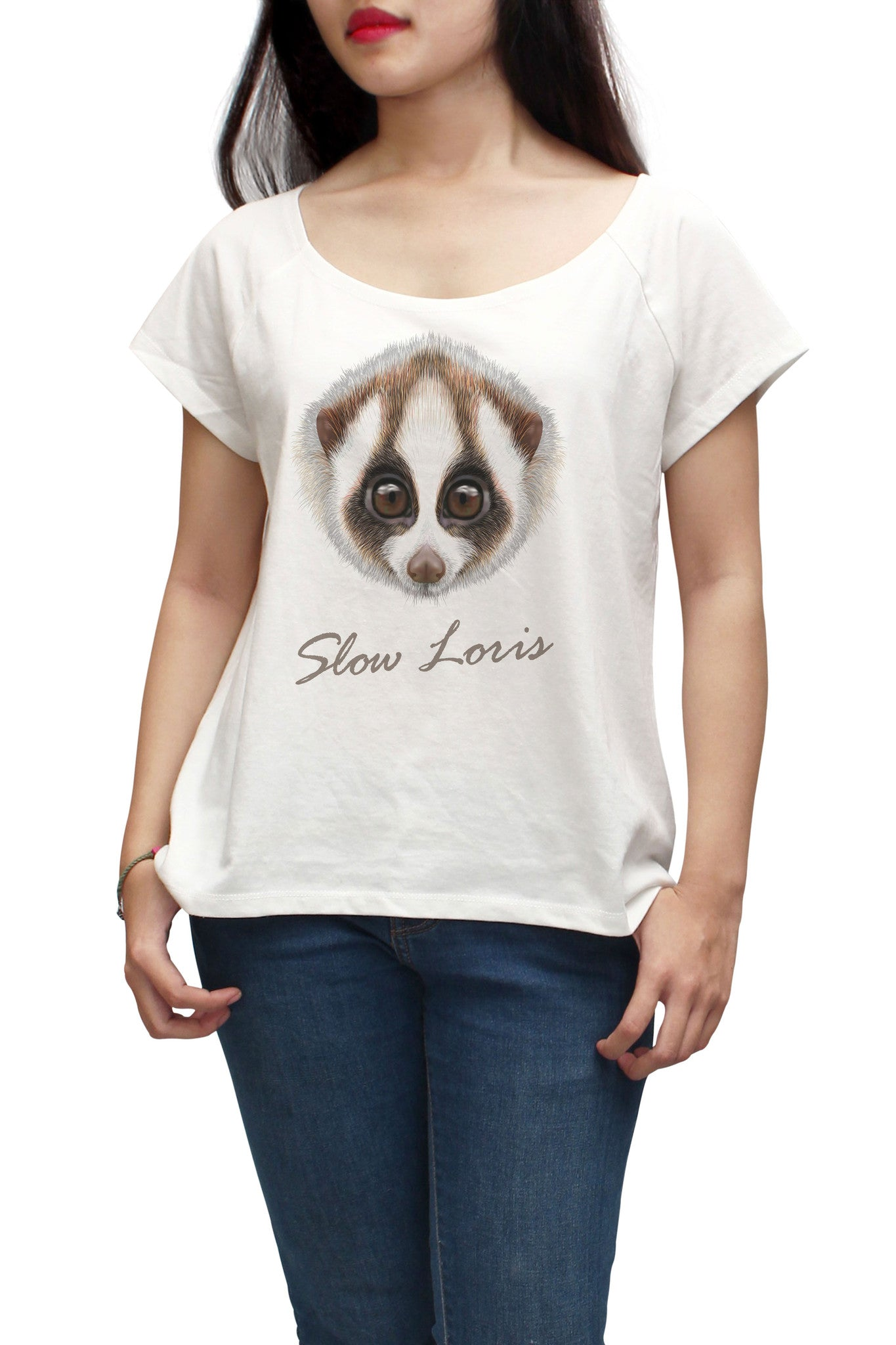 Women Portrait of Slow loris Printed Short Sleeves T-shirt WTS_01