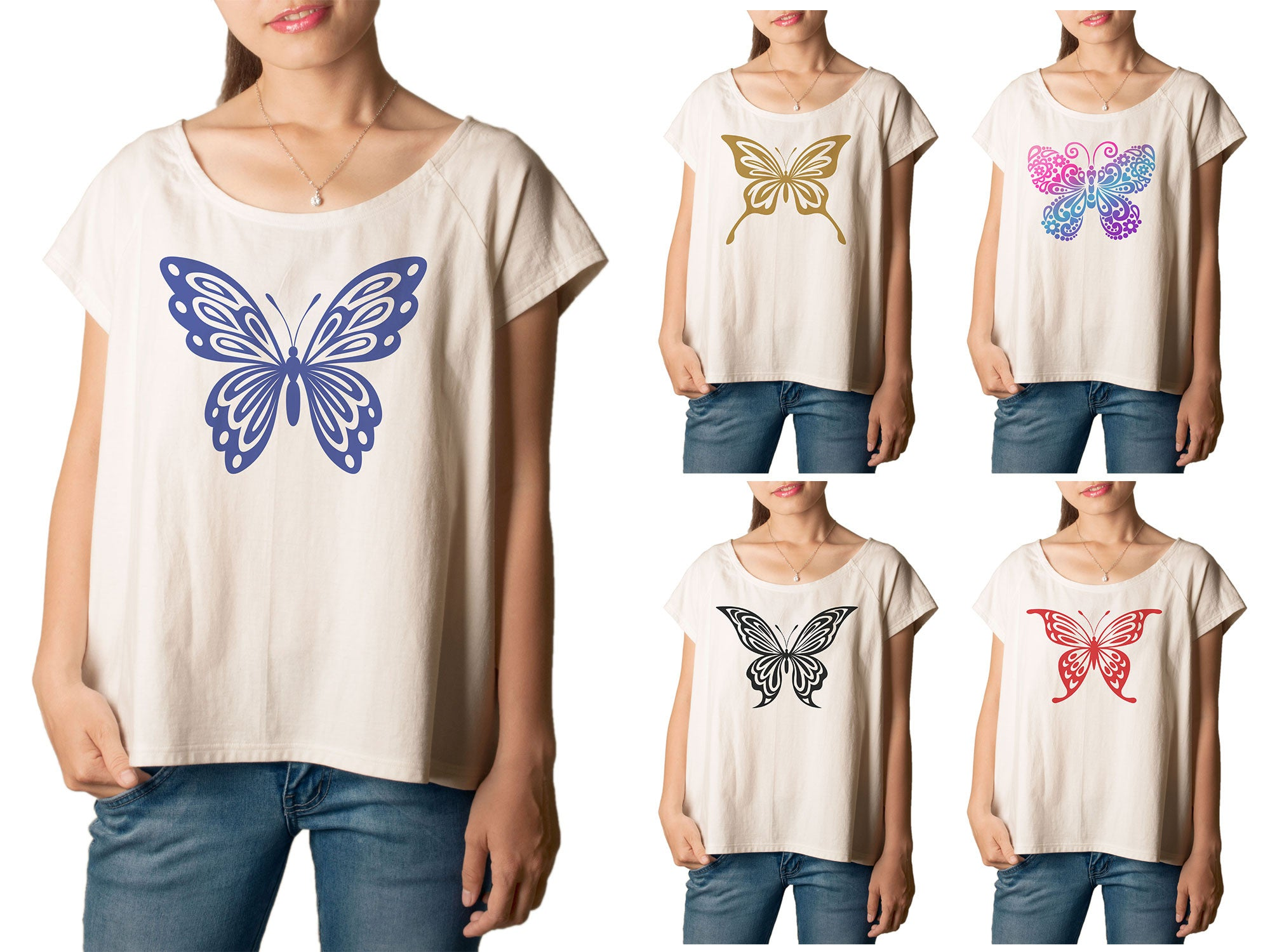 Women Ornate Butterfly Printed T-shirt WTS_01