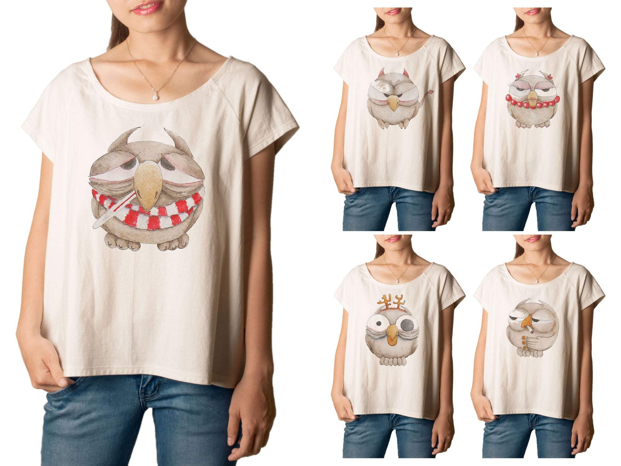 Women's Owl-2 Printed cotton T-shirt  Tee WTS_01