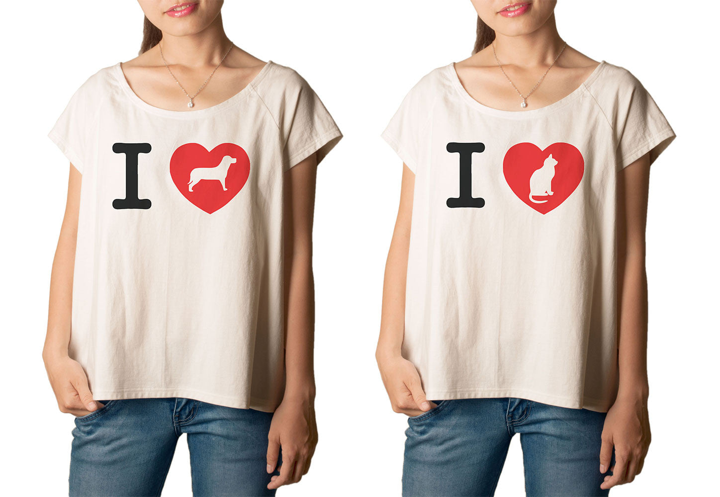Women's I love Dog, Cat Printed cotton T-shirt  Tee WTS_01