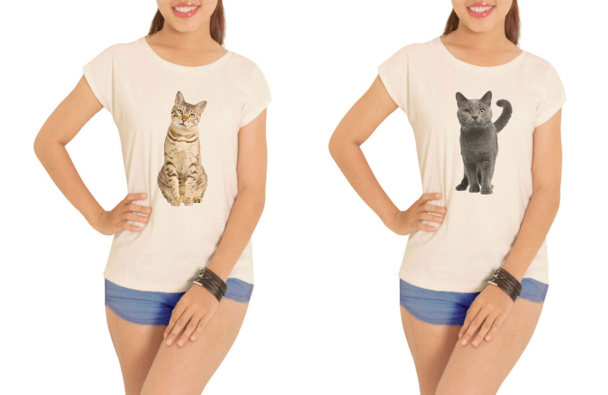 Women Cats Printed Cotton Short Sleeves T- Shirt WTS_02